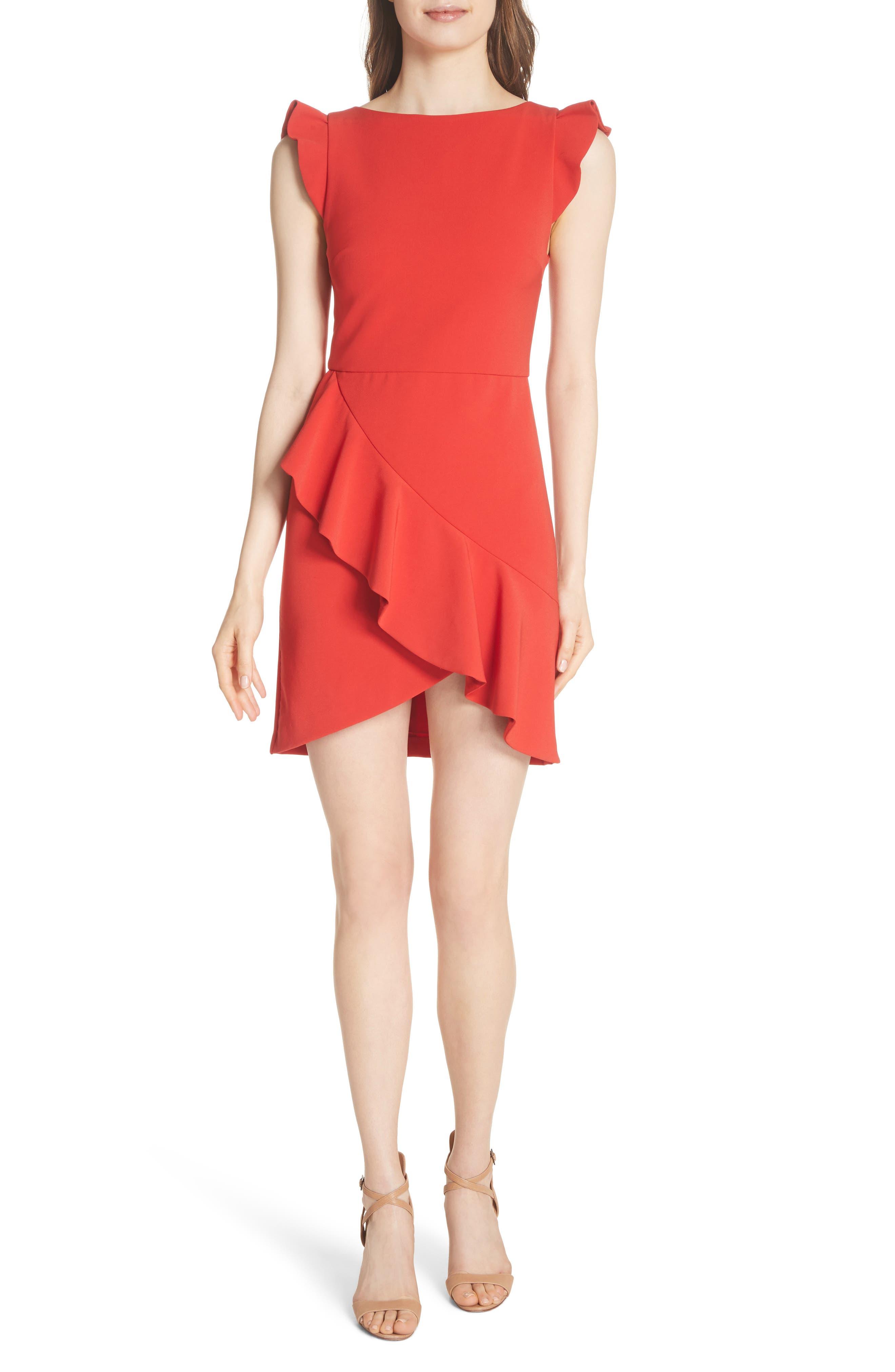 Verona Ruffled Minidress,                         Main,                         color, Perfect Poppy