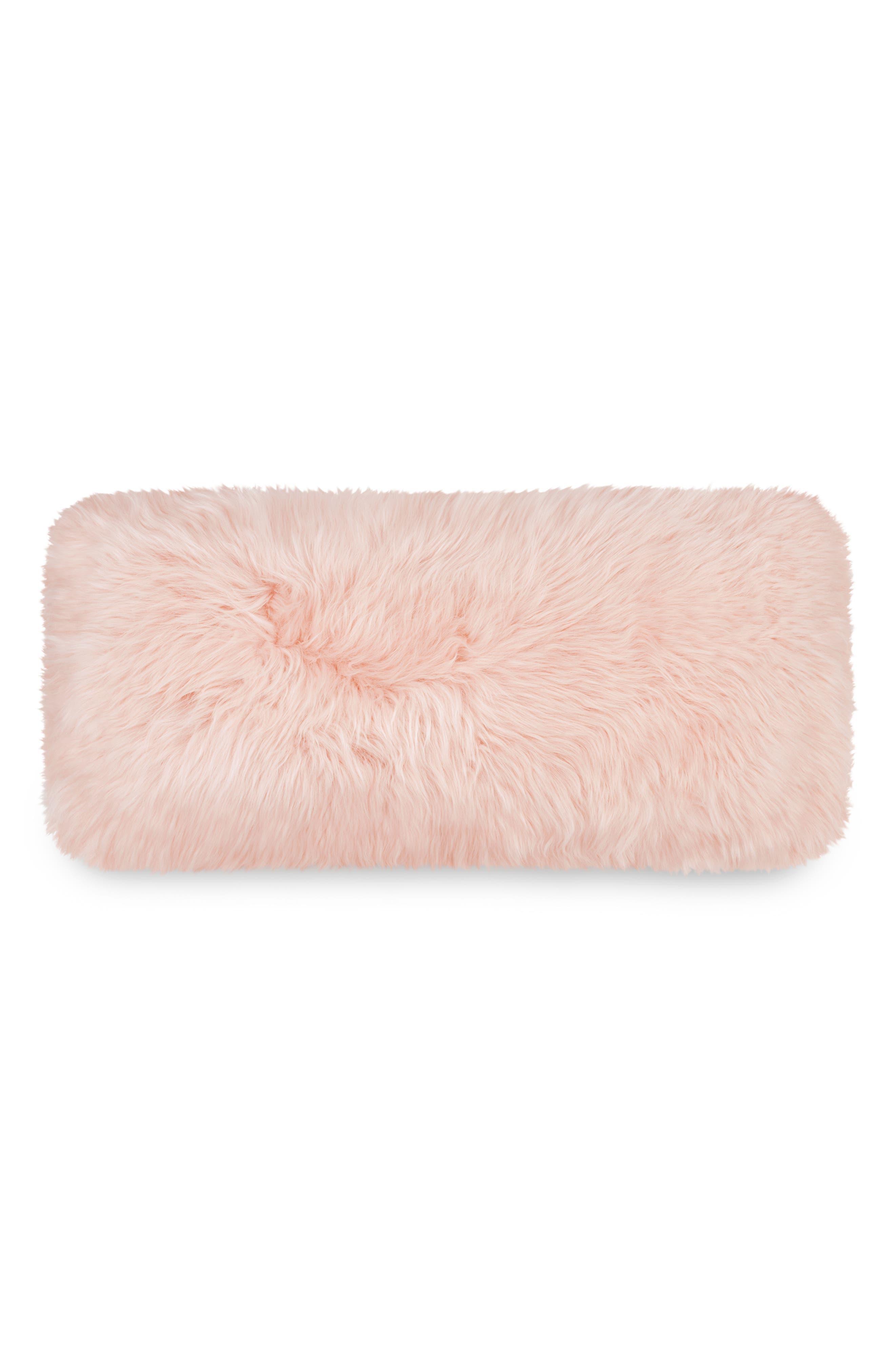 Genuine Sheepskin Accent Pillow,                             Alternate thumbnail 2, color,                             Blush