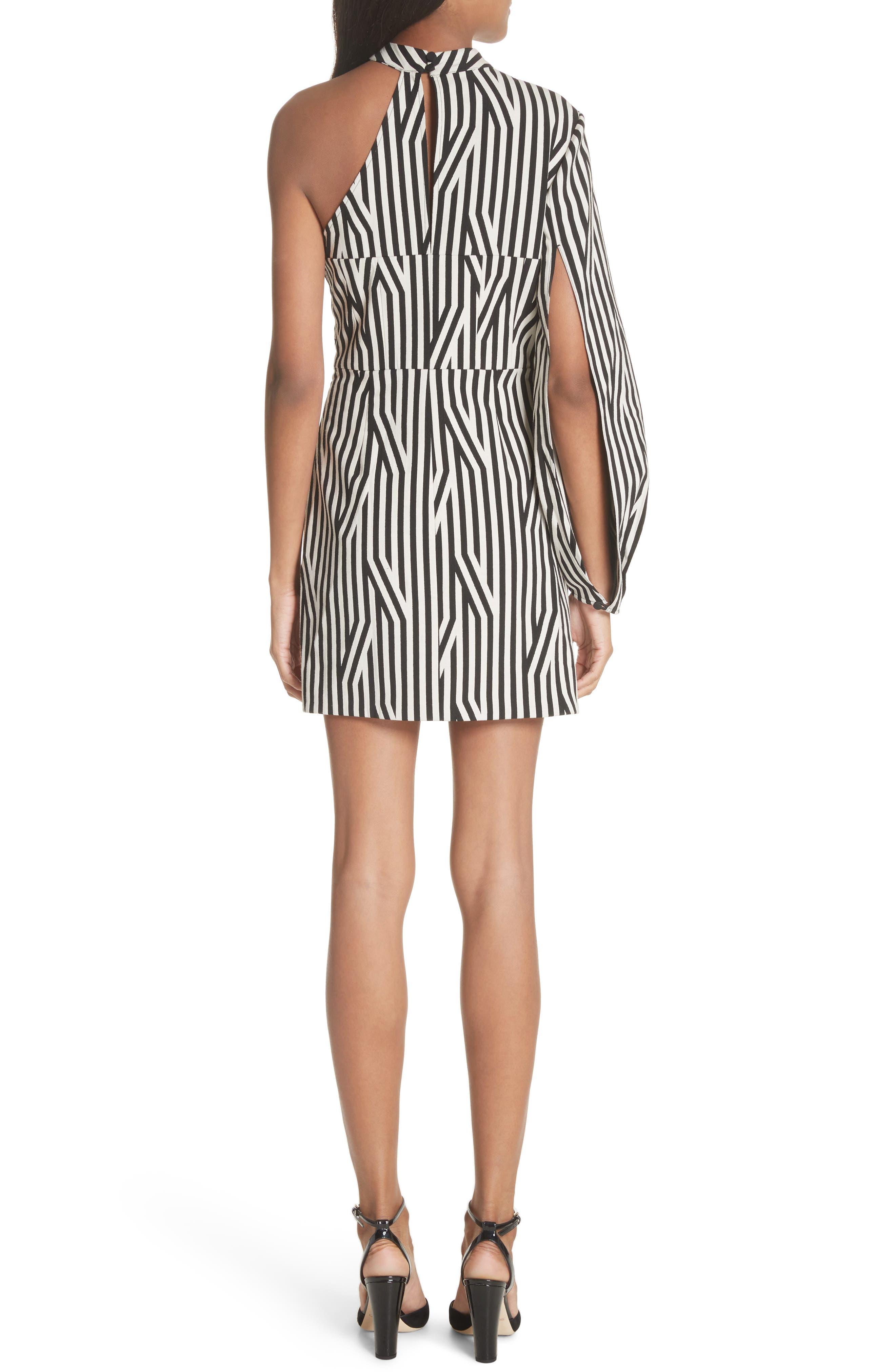 Abstract Stripe One-Shoulder Minidress,                             Alternate thumbnail 2, color,                             Black/ White
