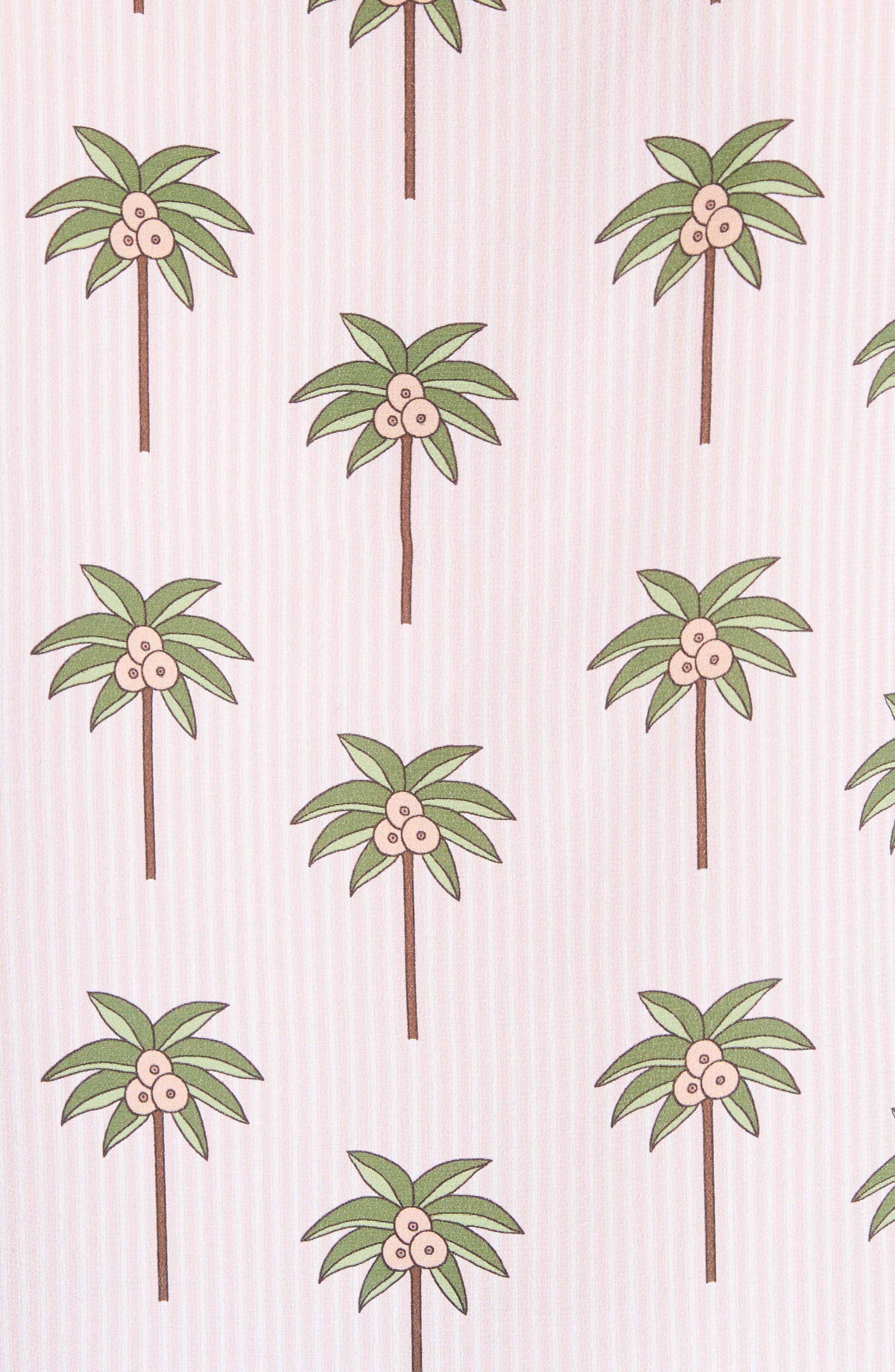 Salome Palm Print Silk Blouse,                             Alternate thumbnail 5, color,                             Mini Palm