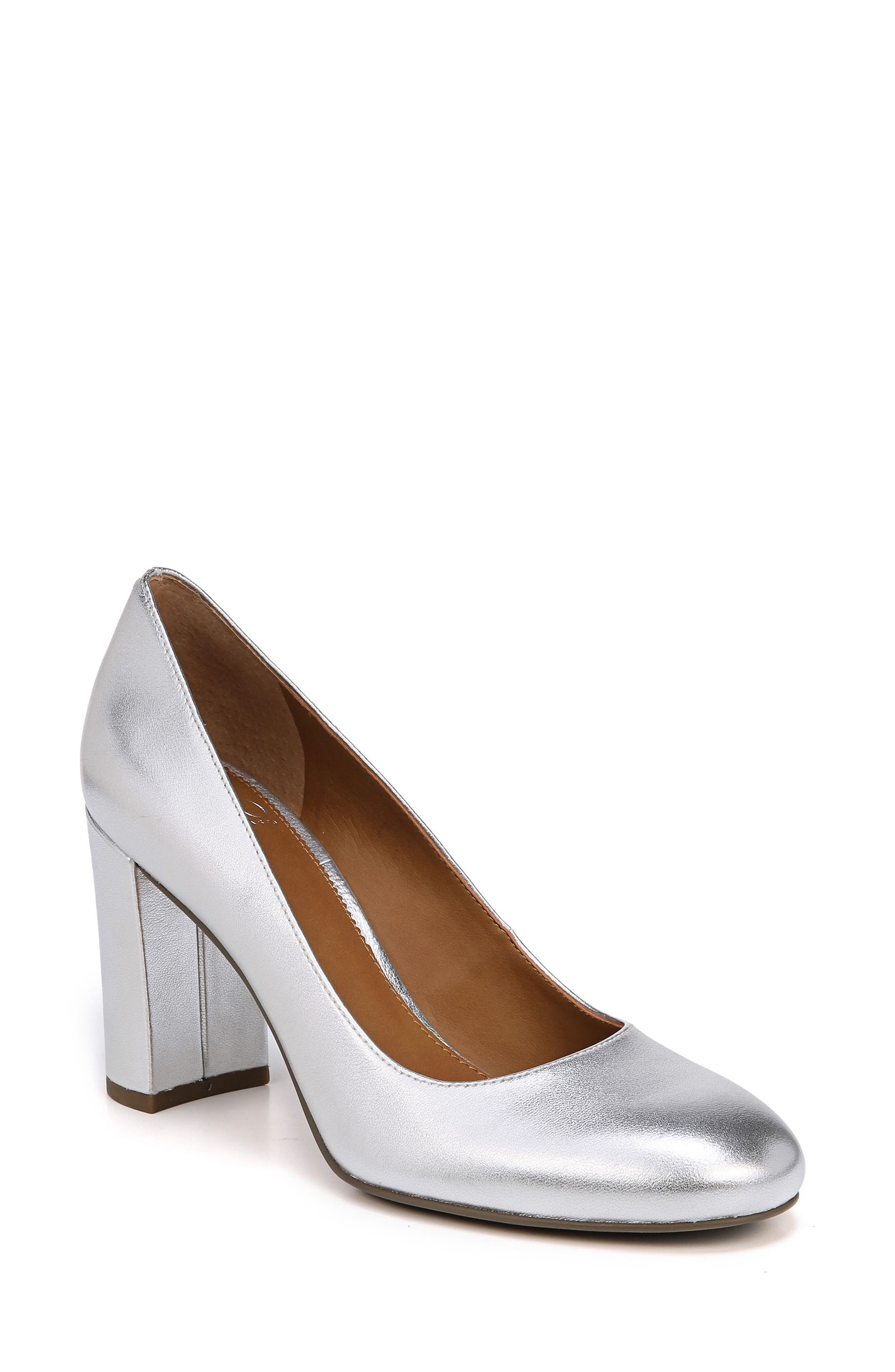 Aziza Block Heel Pump,                             Main thumbnail 1, color,                             Silver Leather