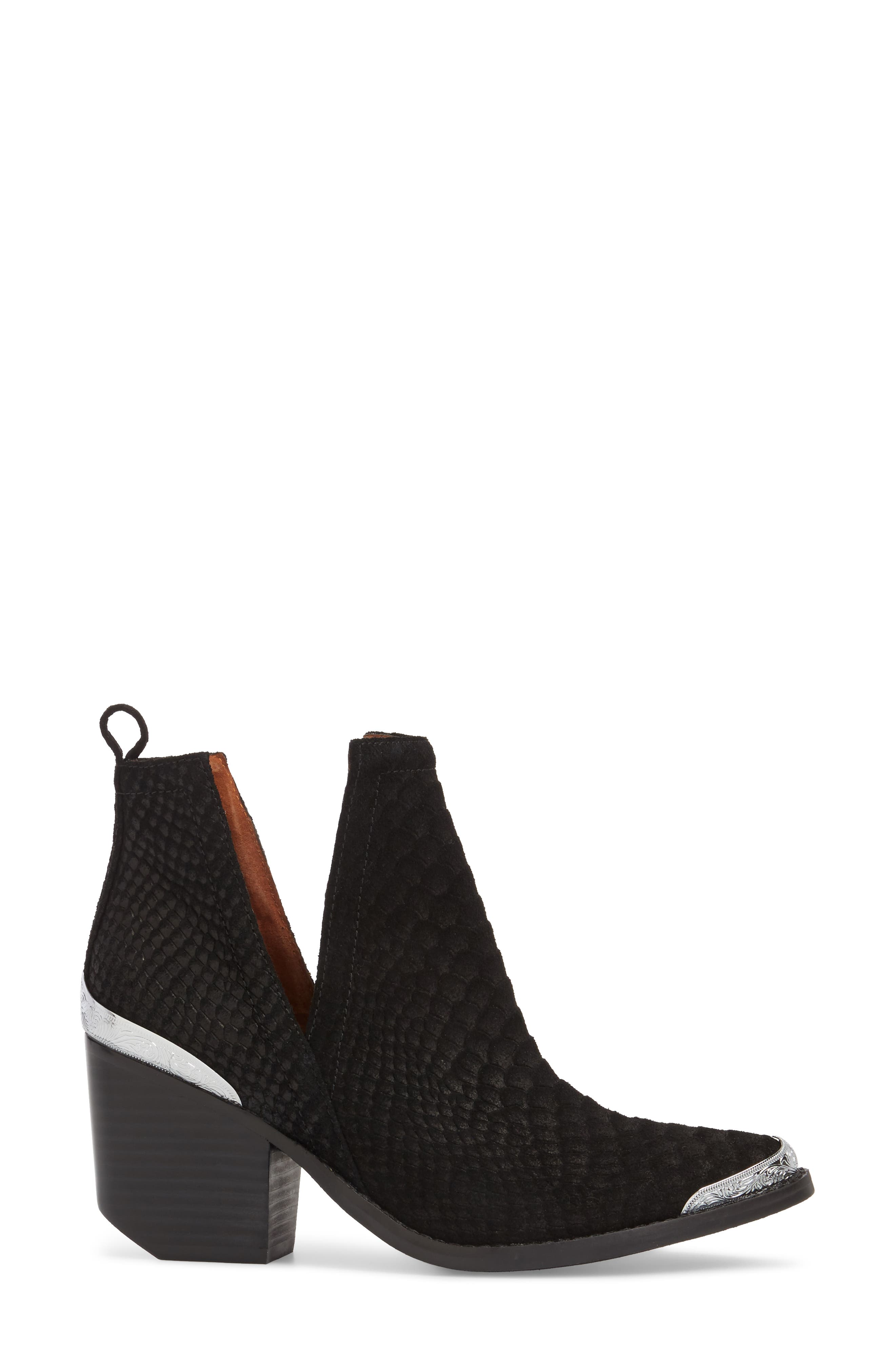 Cromwell Cutout Western Boot,                             Alternate thumbnail 3, color,                             Black Suede/ Snake