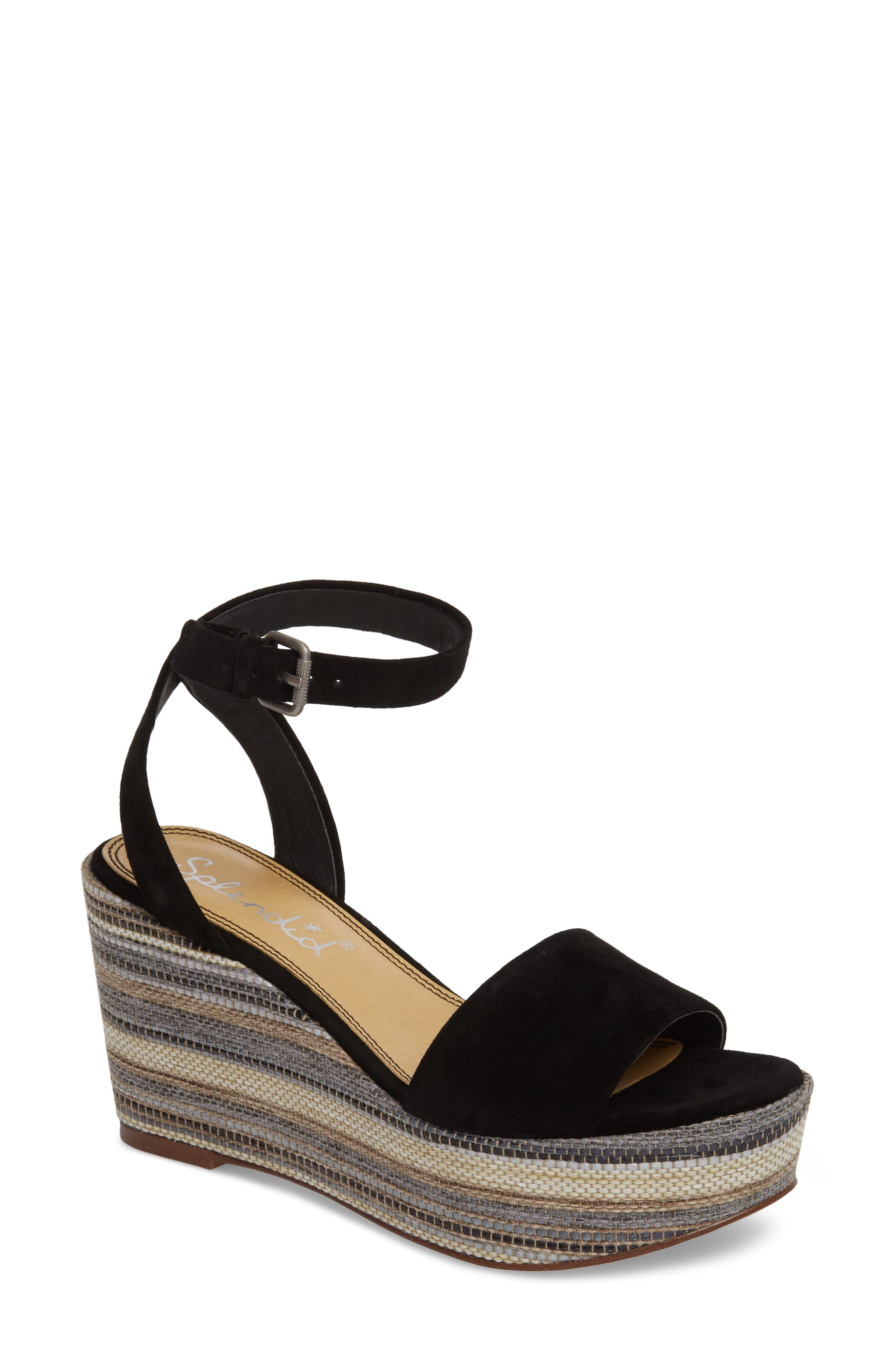 Felix Platform Wedge Sandal,                             Main thumbnail 1, color,                             Black Multi Suede