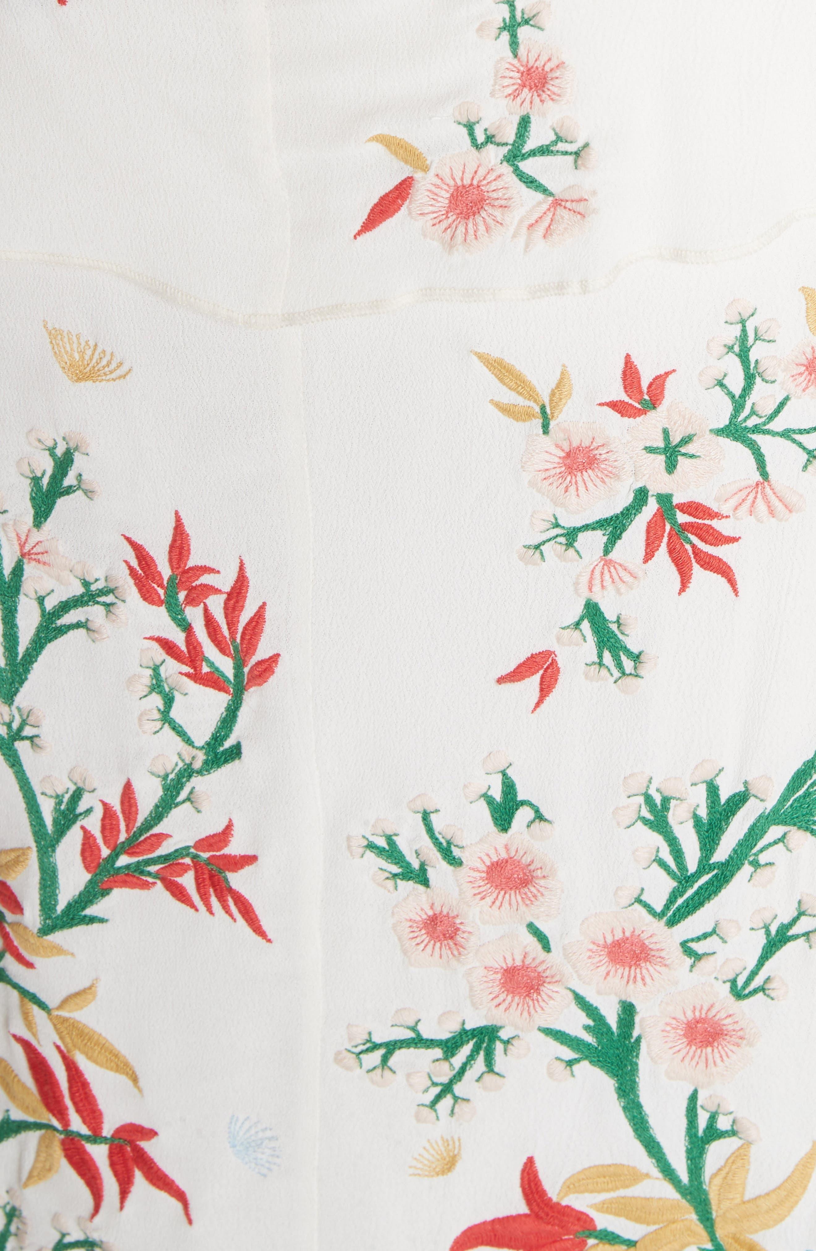 Golda Embroidered Midi Halter Dress,                             Alternate thumbnail 5, color,                             Cream/ Multi
