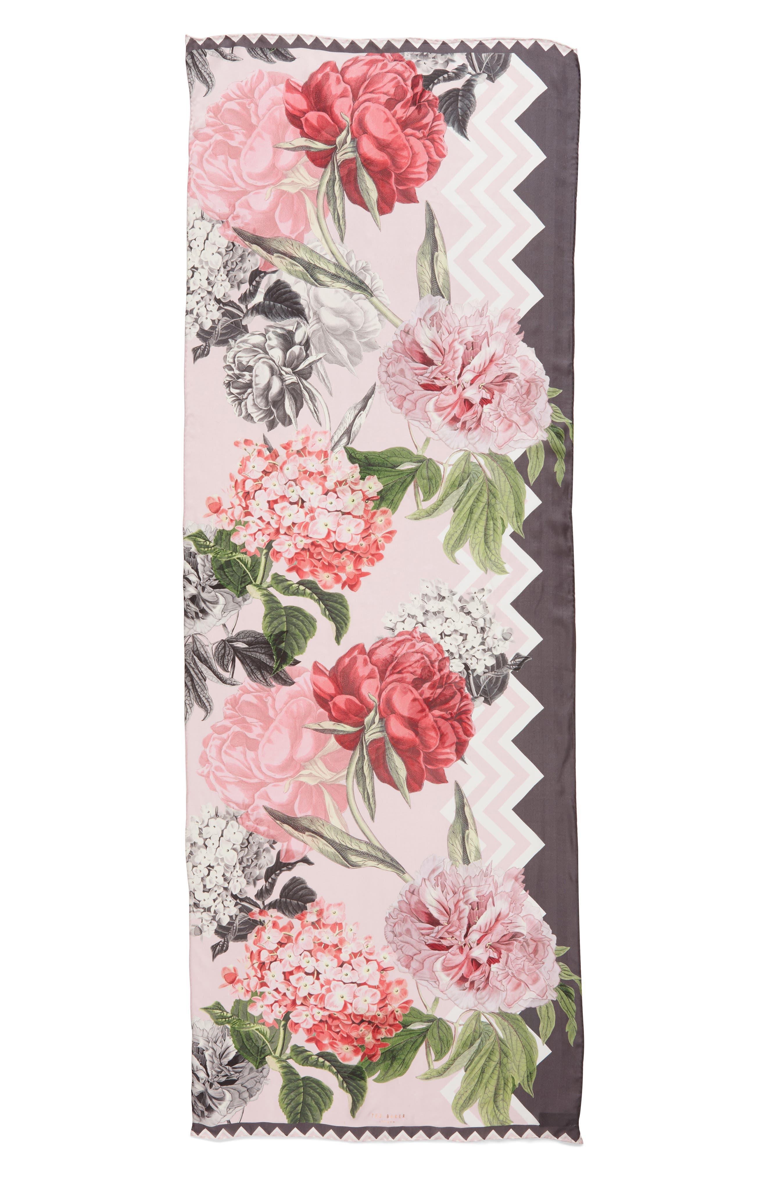 Palace Gardens Silk Scarf,                             Alternate thumbnail 3, color,                             Dusky Pink