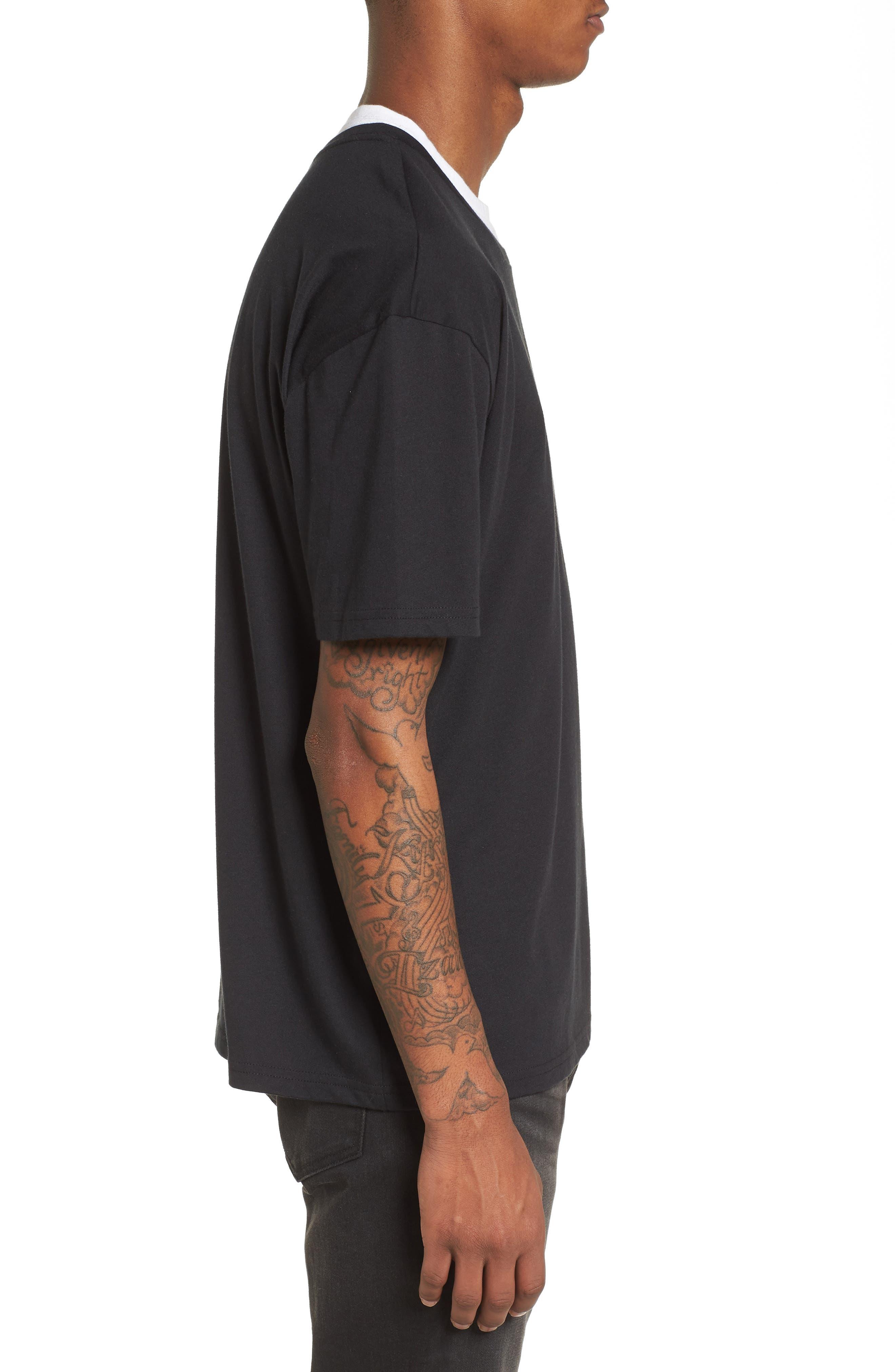 Double Layer T-Shirt,                             Alternate thumbnail 3, color,                             Black/ White