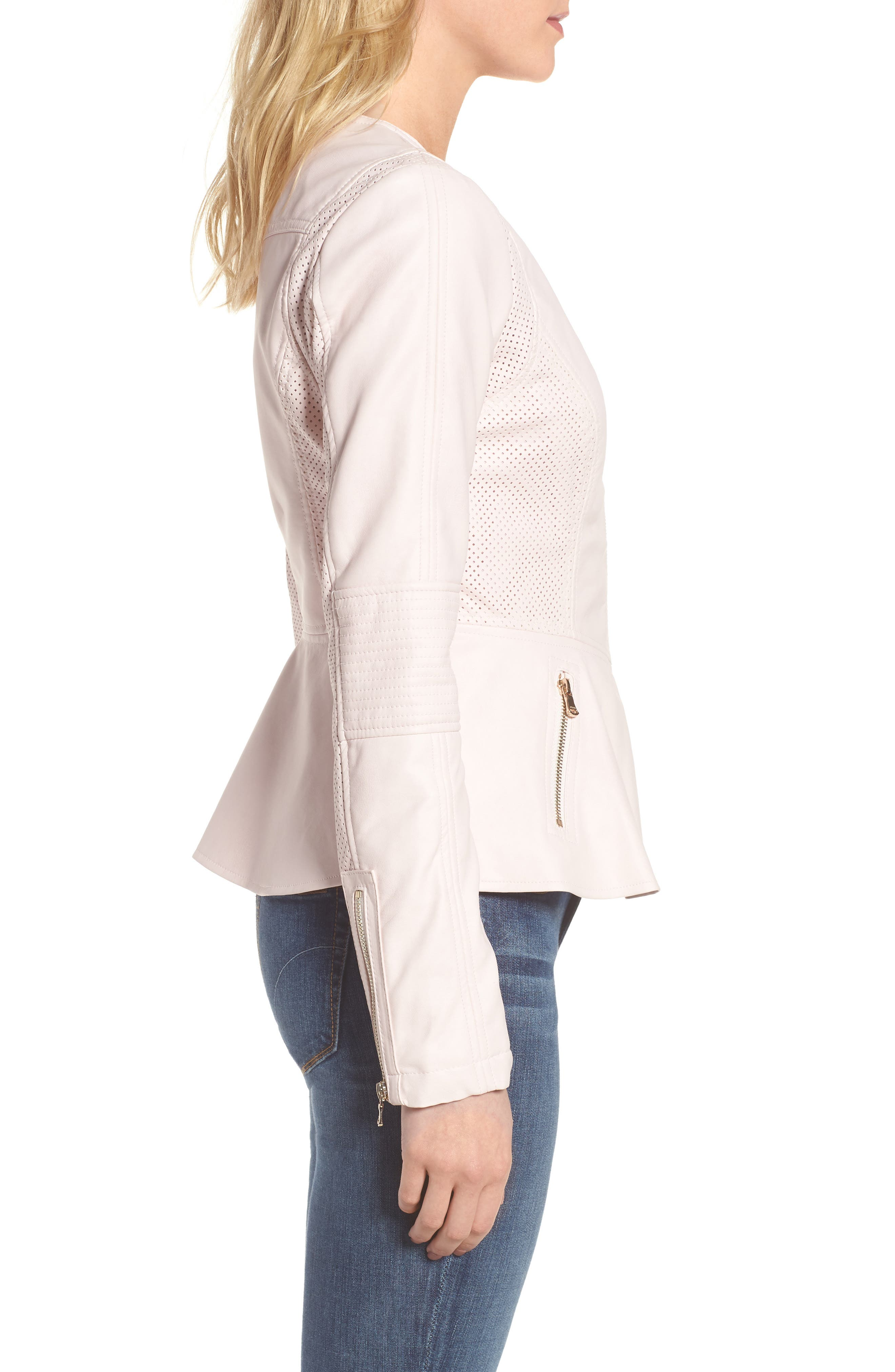 Alternate Image 3  - GUESS Perforated Peplum Hem Faux Leather Jacket