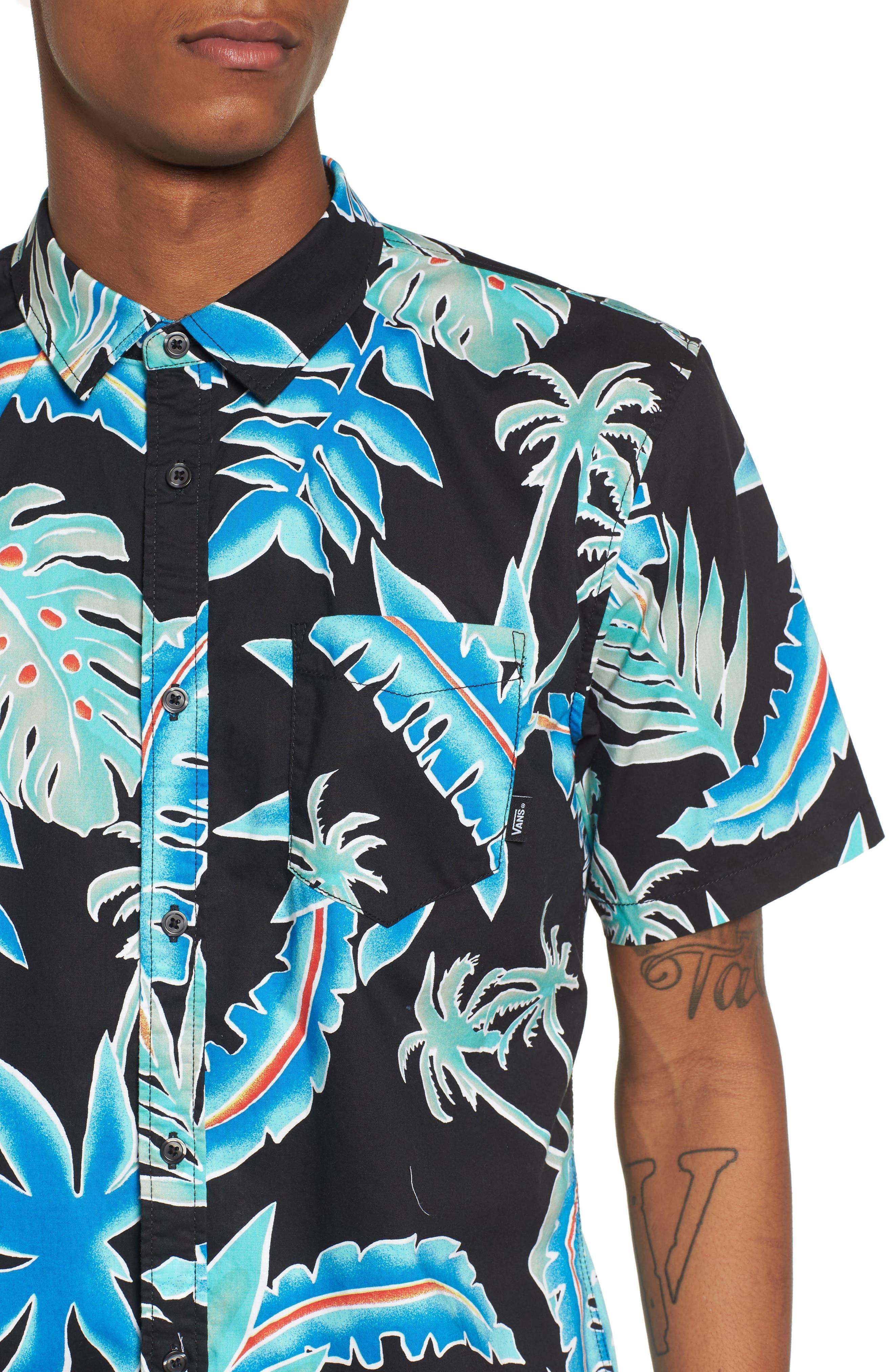 Pit Stop Woven Shirt,                             Alternate thumbnail 2, color,                             Black Pit Stop Floral