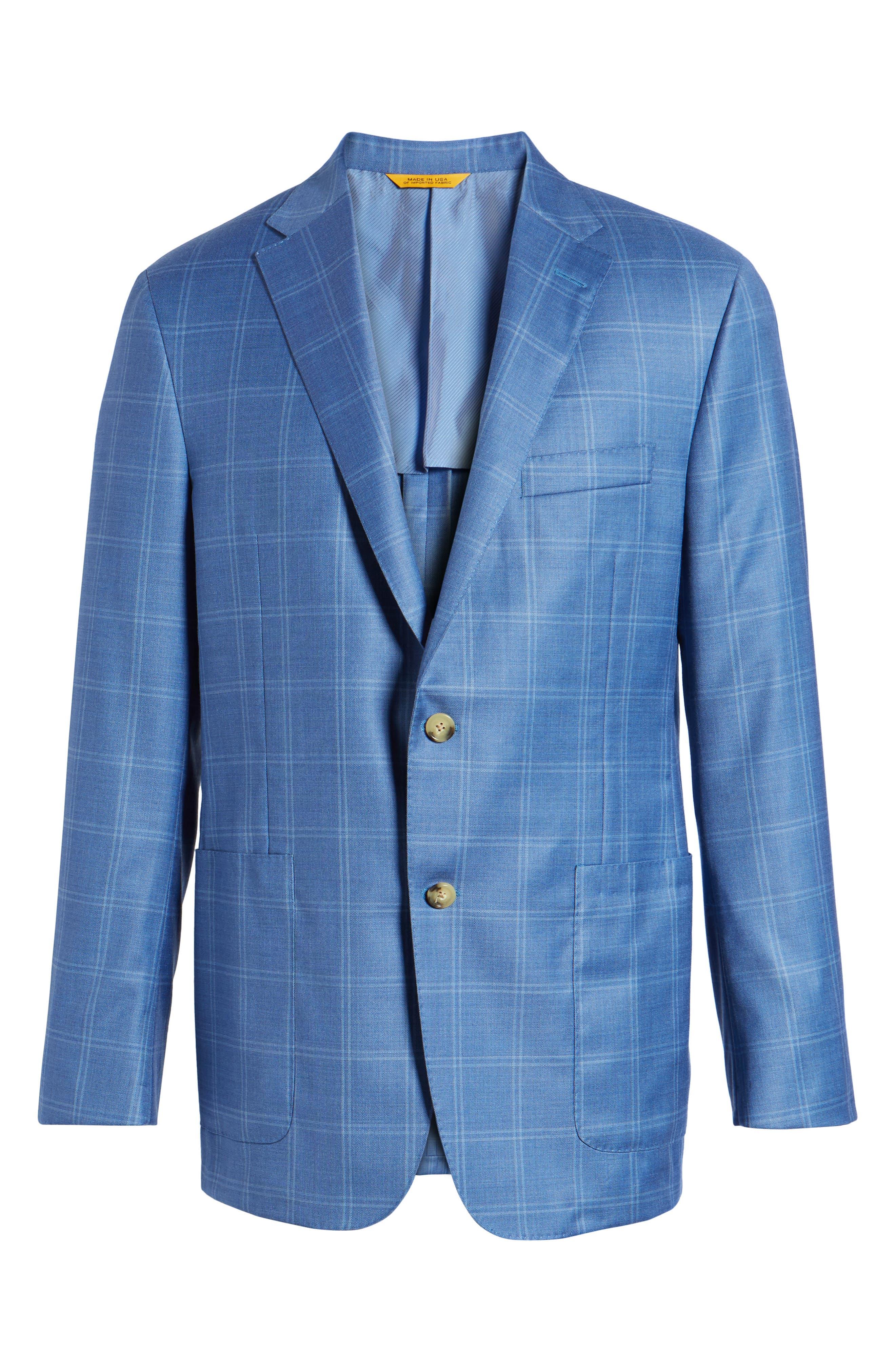 Global Guardian Classic B Fit Windowpane Wool Sport Coat,                             Alternate thumbnail 6, color,                             Light Blue