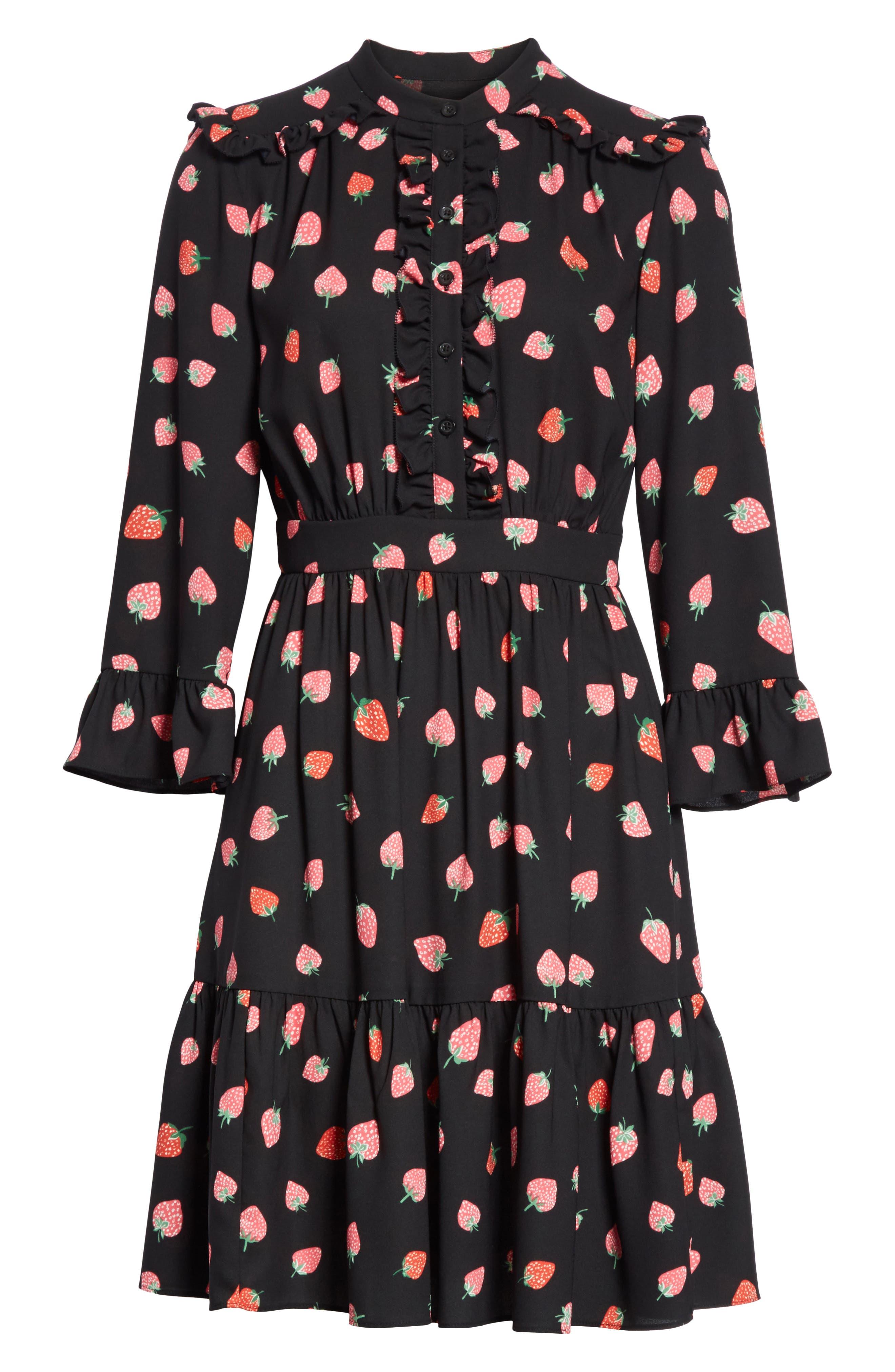 tossed berry shirtdress,                             Alternate thumbnail 6, color,                             Black