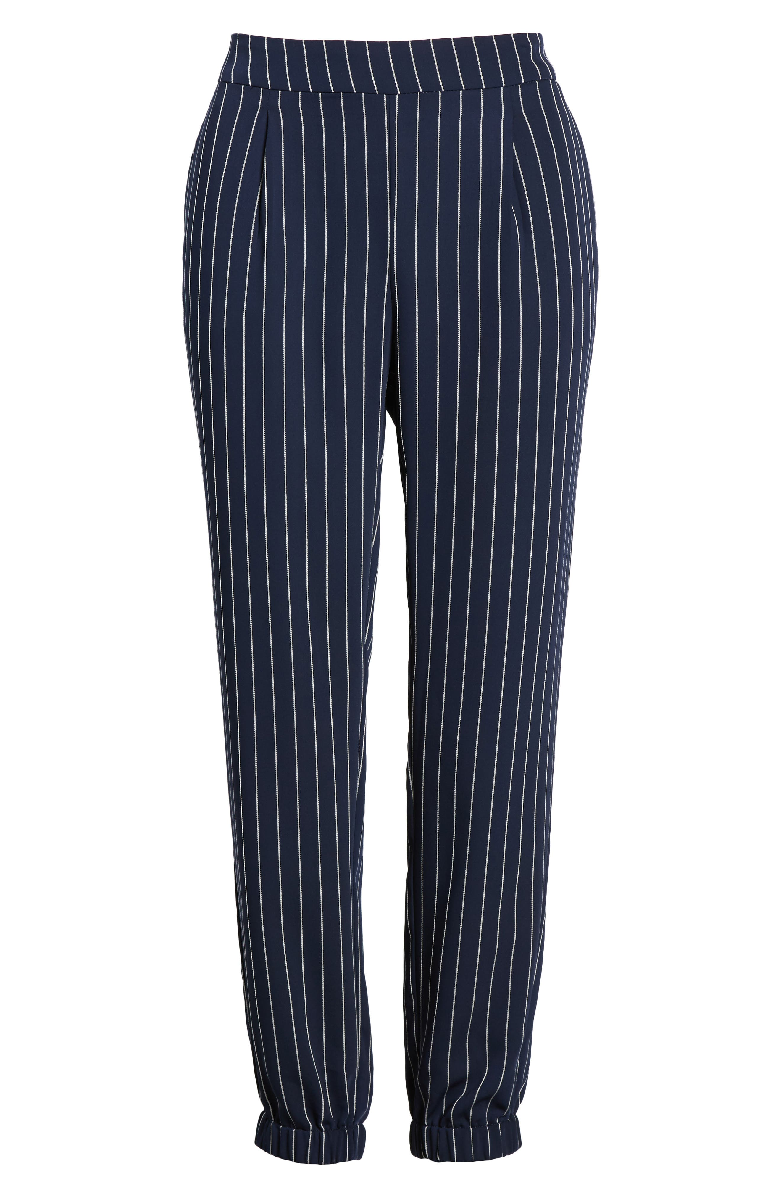 Stripe Jogger Pants,                             Alternate thumbnail 7, color,                             Navy- Ivory Emma Stripe