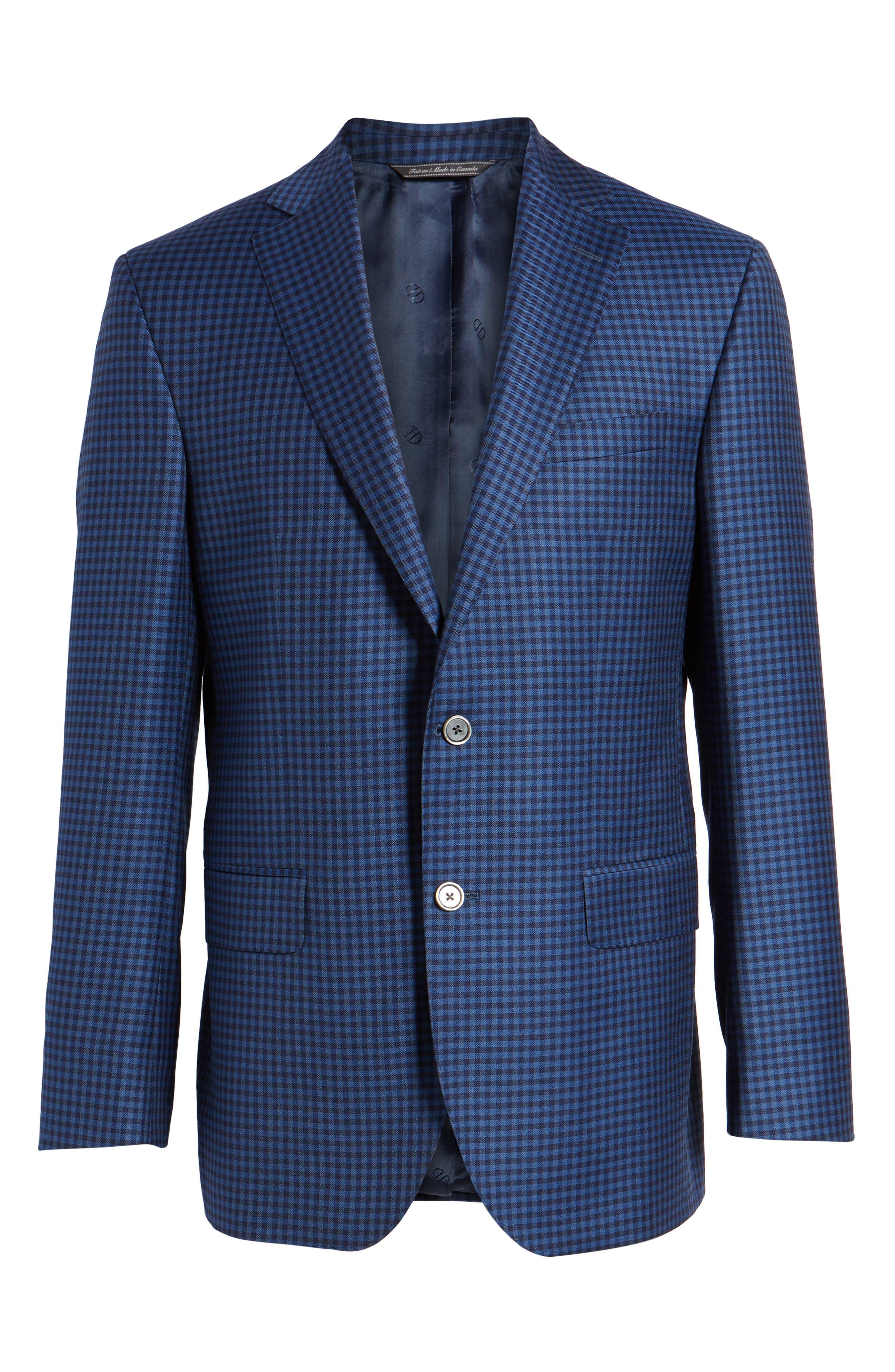 Connor Classic Fit Check Wool Sport Coat,                             Alternate thumbnail 6, color,                             Medium Blue