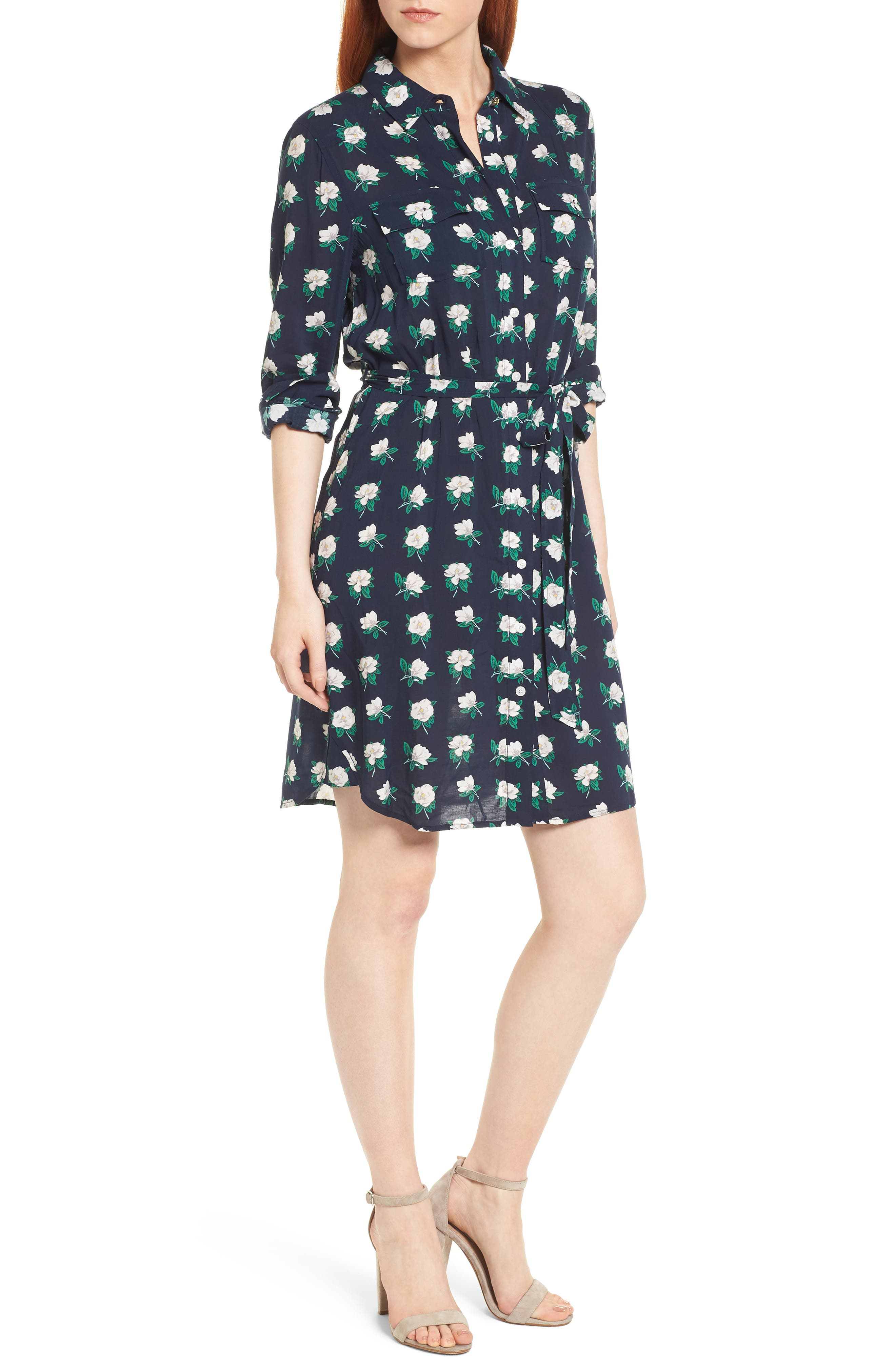 Magnolia Casual Belted Shirtdress,                         Main,                         color, Magnolia Navy