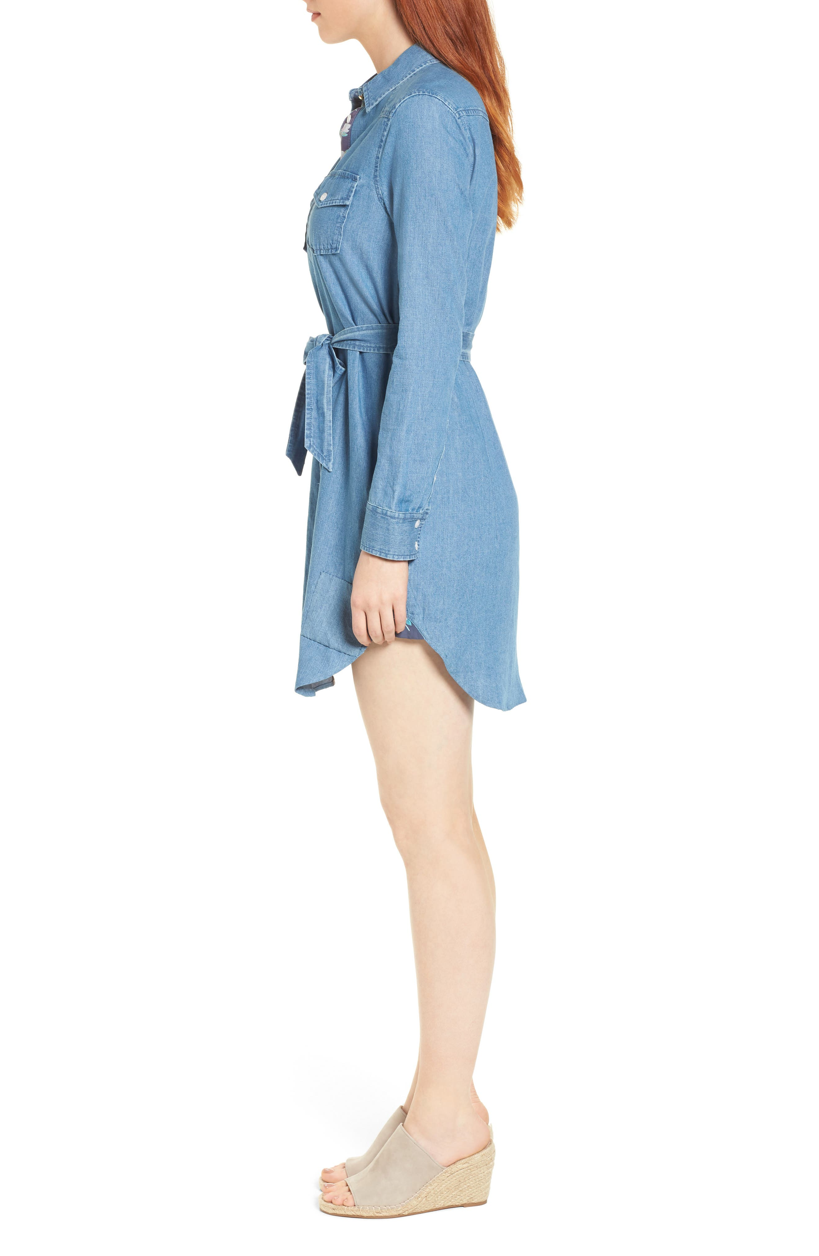 Casual Belted Chambray Shirtdress,                             Alternate thumbnail 3, color,                             Chambray
