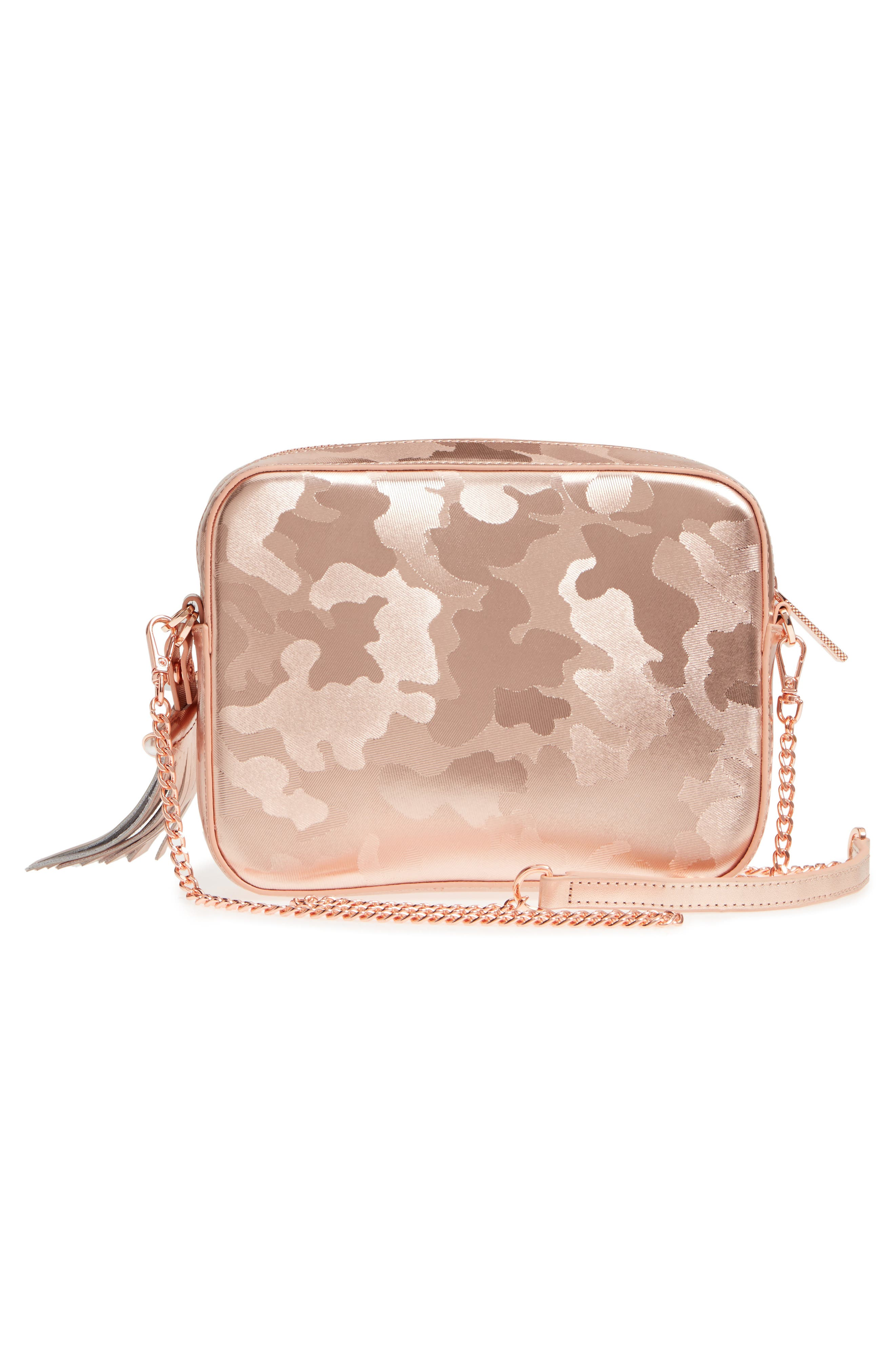 Camouflage Leather Camera Bag,                             Alternate thumbnail 3, color,                             Rose Gold