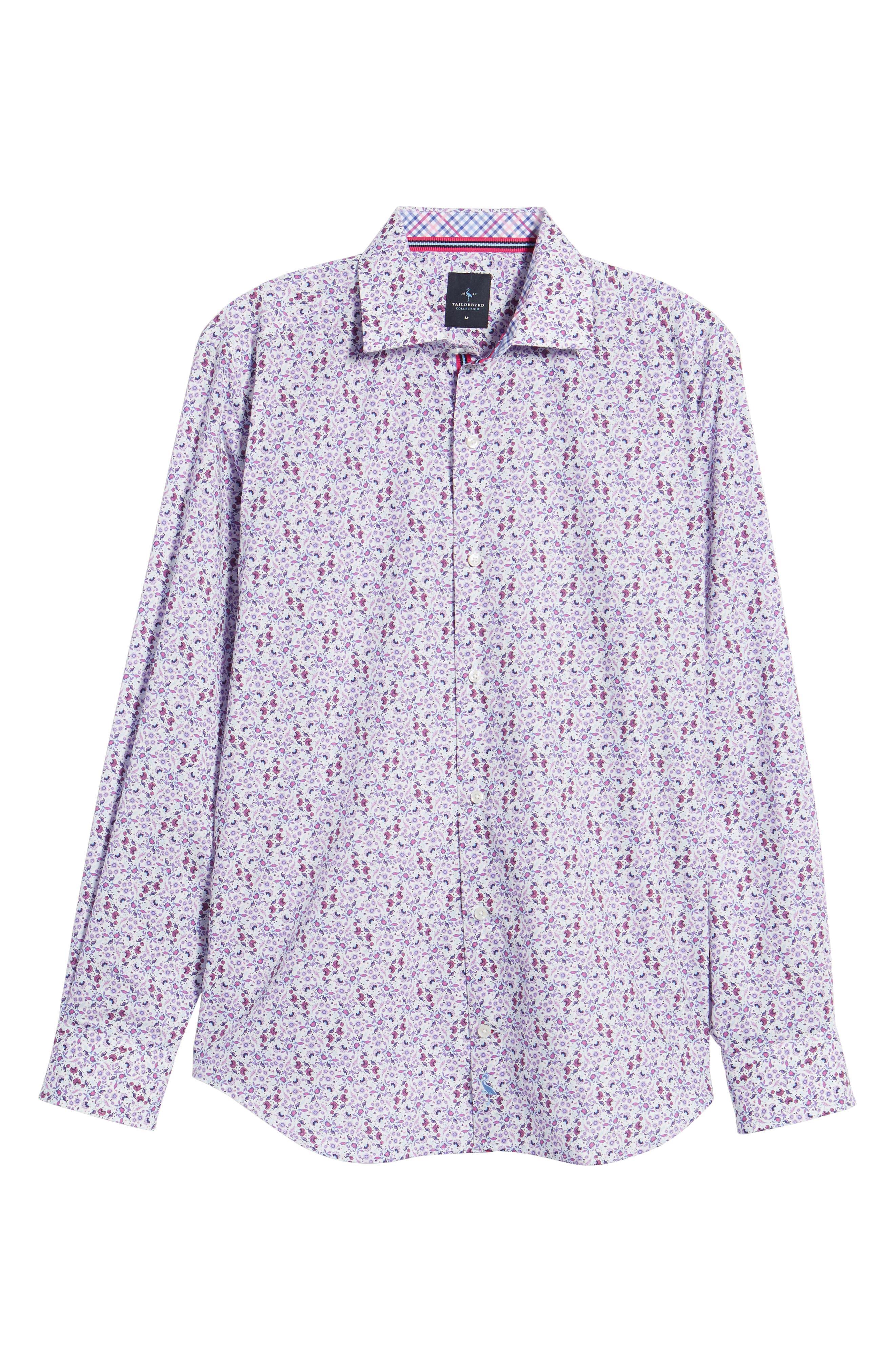 Kaj Regular Fit Floral Print Sport Shirt,                             Alternate thumbnail 6, color,                             Fuchsia