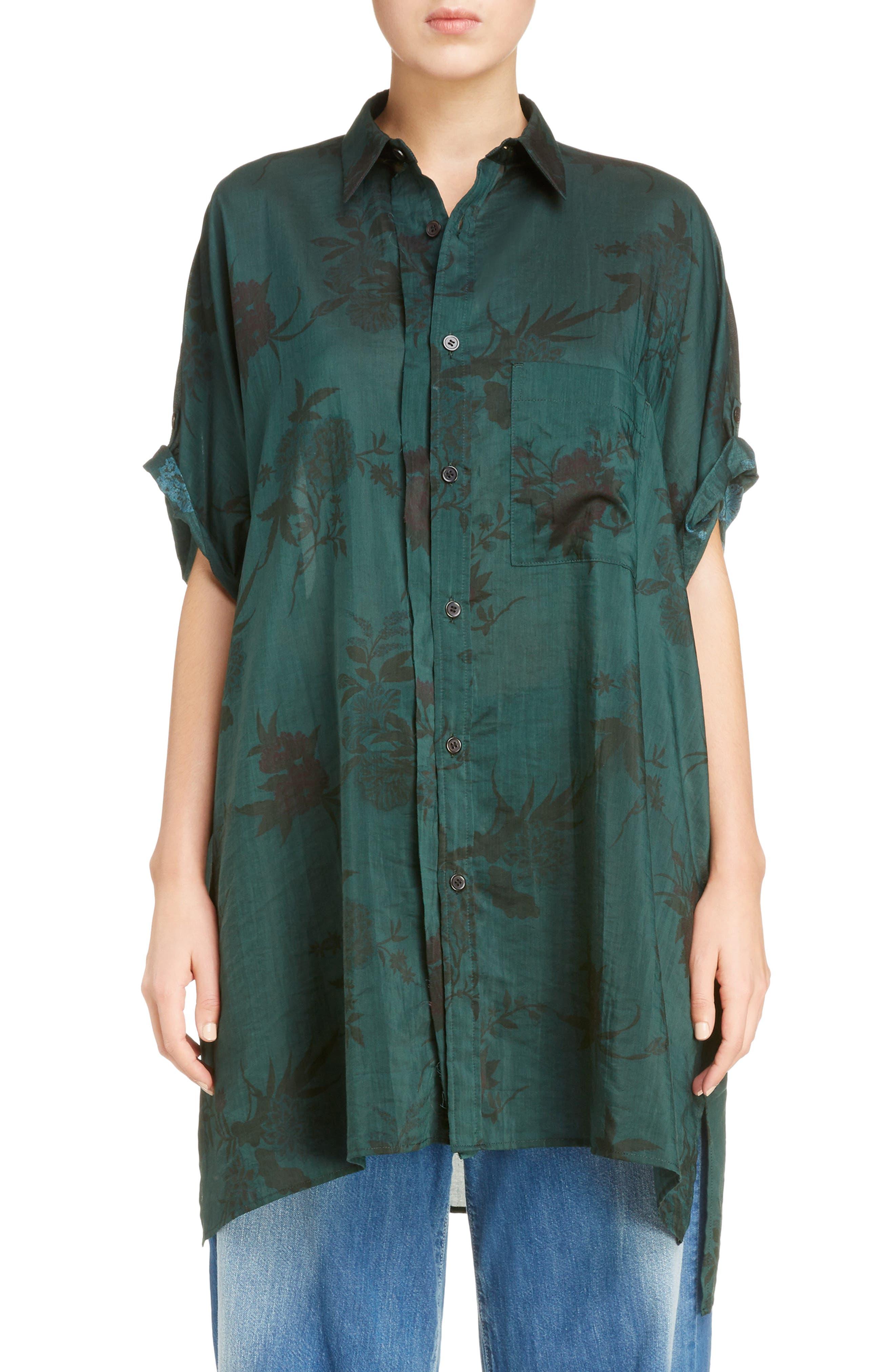 Floral Print Shirt,                         Main,                         color, Green