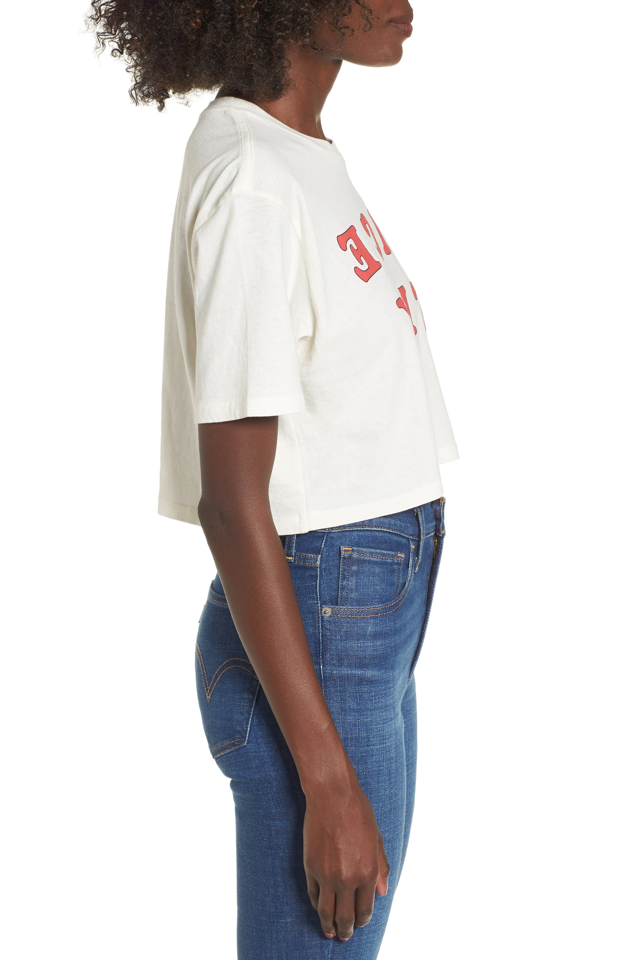 Nice Try Crop Tee,                             Alternate thumbnail 3, color,                             Washed Ivory