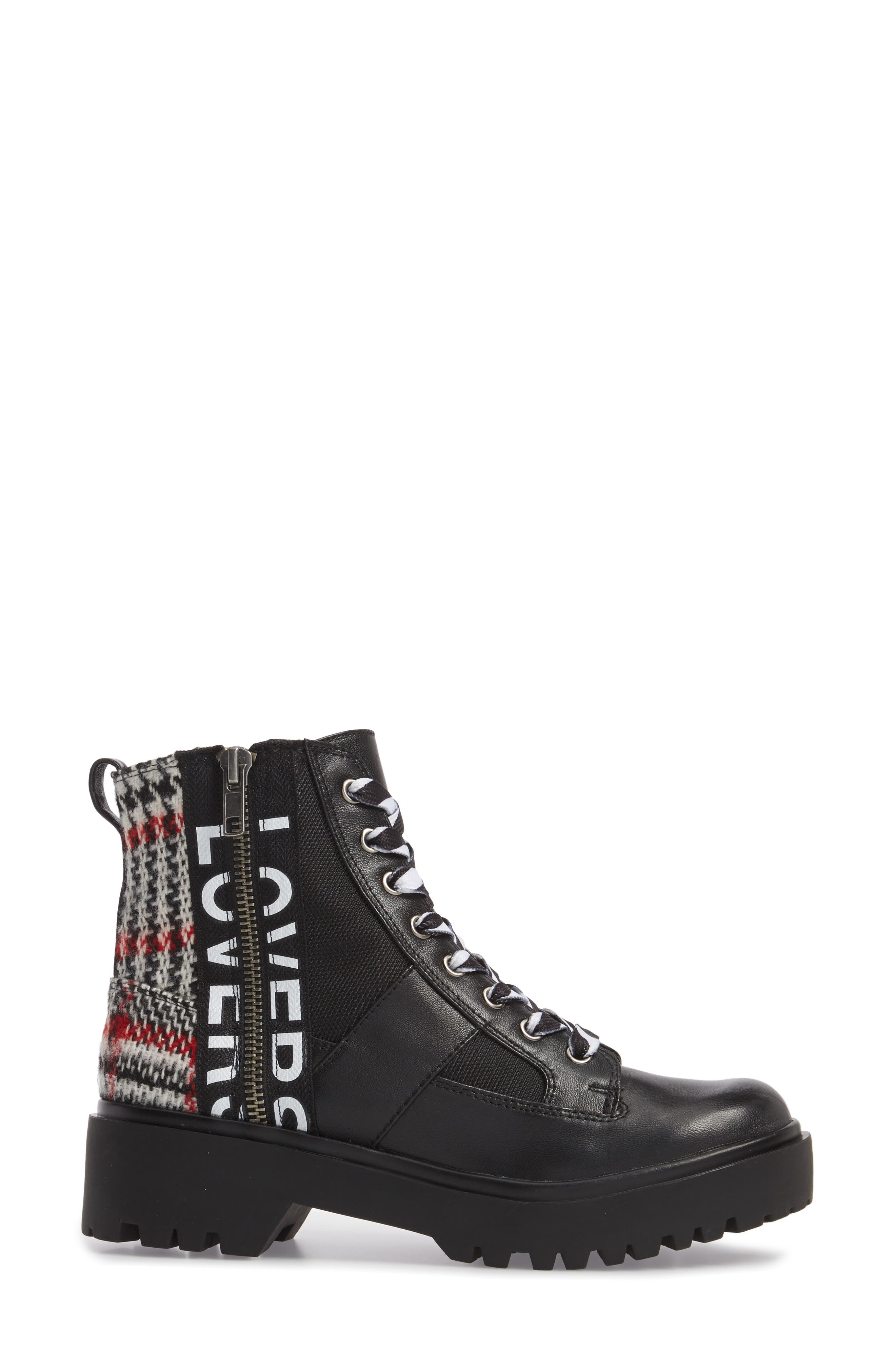 Lennox Combat Boot,                             Alternate thumbnail 3, color,                             Black Multi