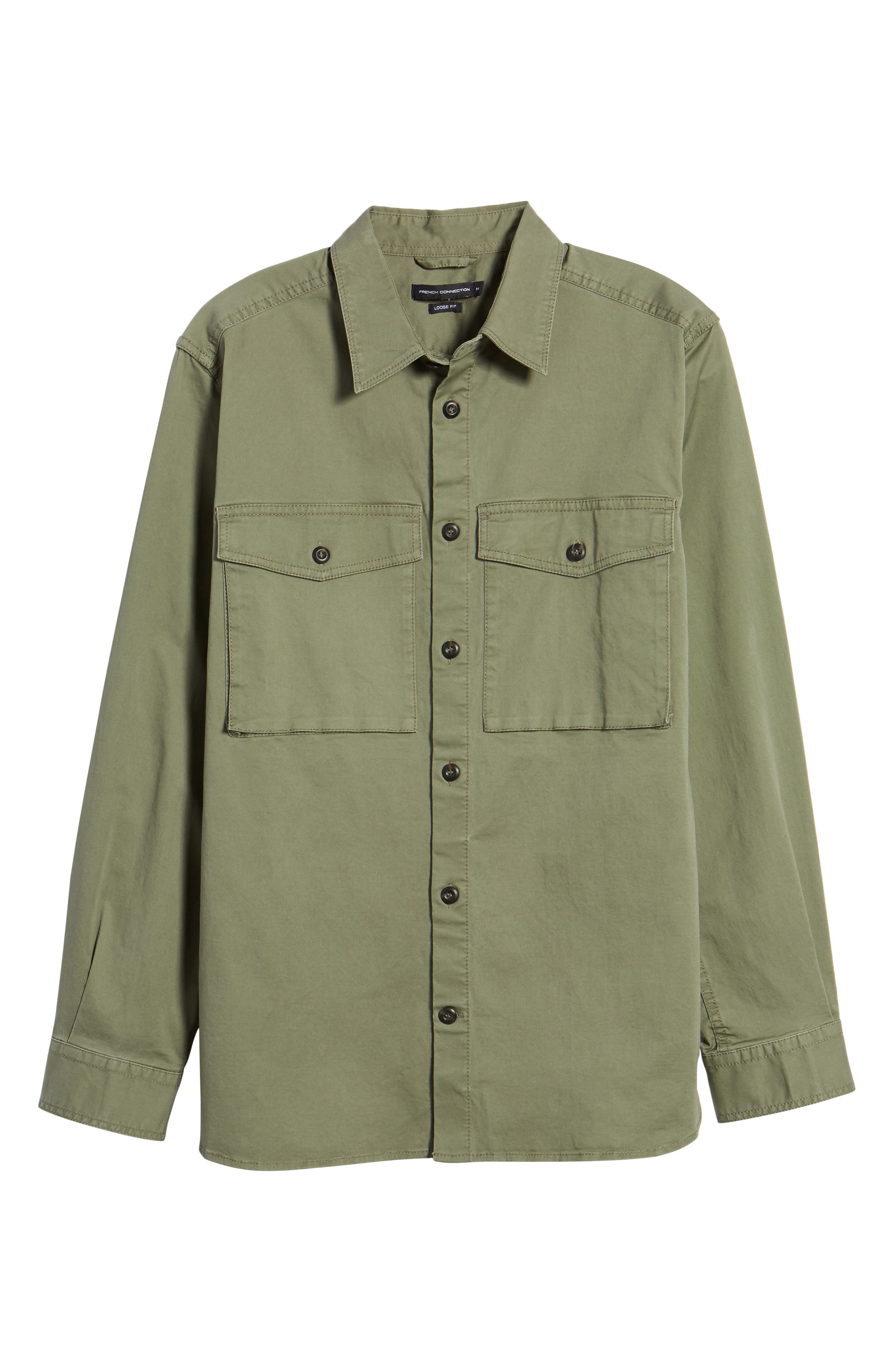 Twill Military Shirt Jacket,                             Alternate thumbnail 6, color,                             Deep Lichen Green