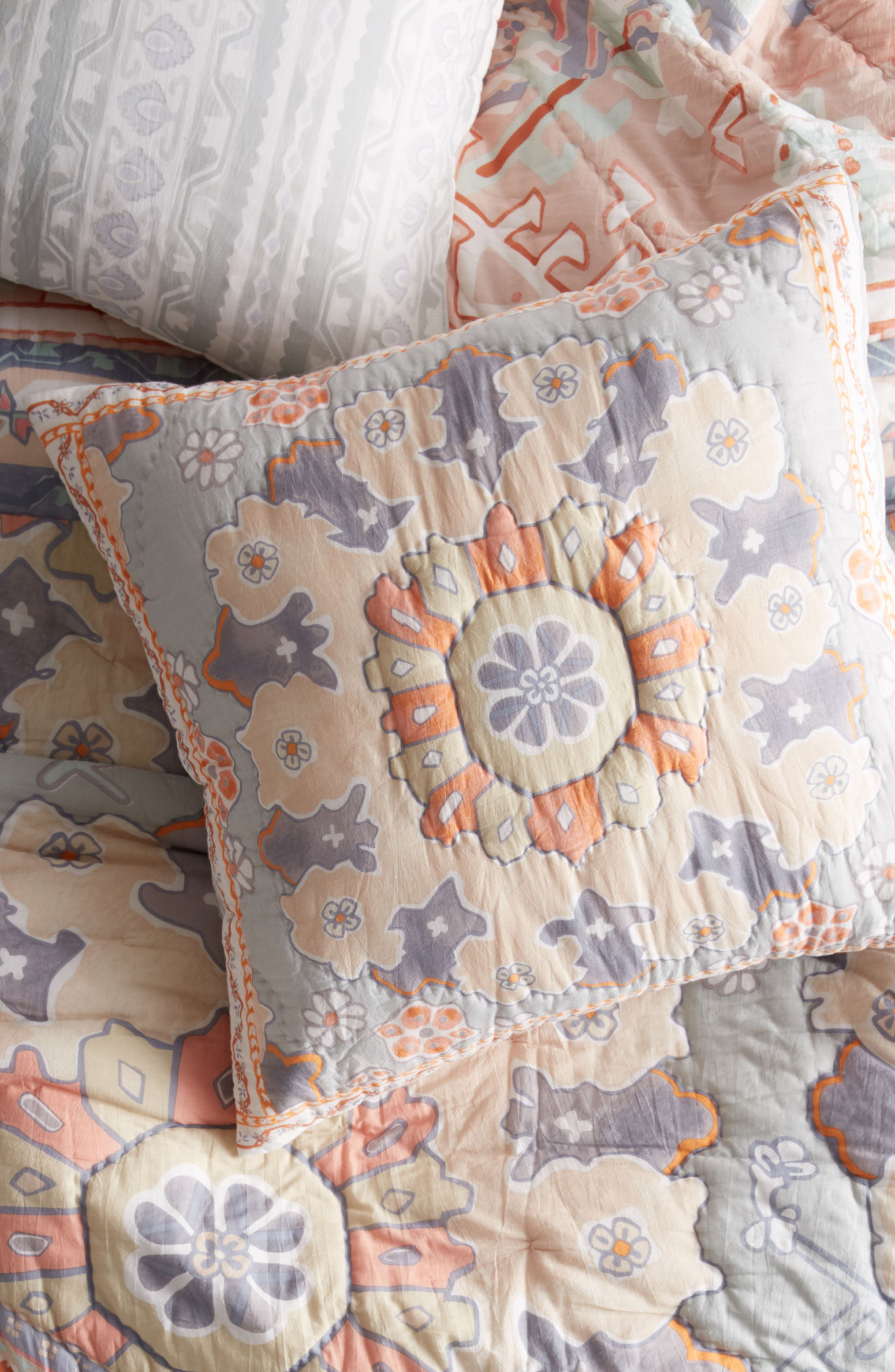 Pilar Quilted Euro Sham,                         Main,                         color, Coral