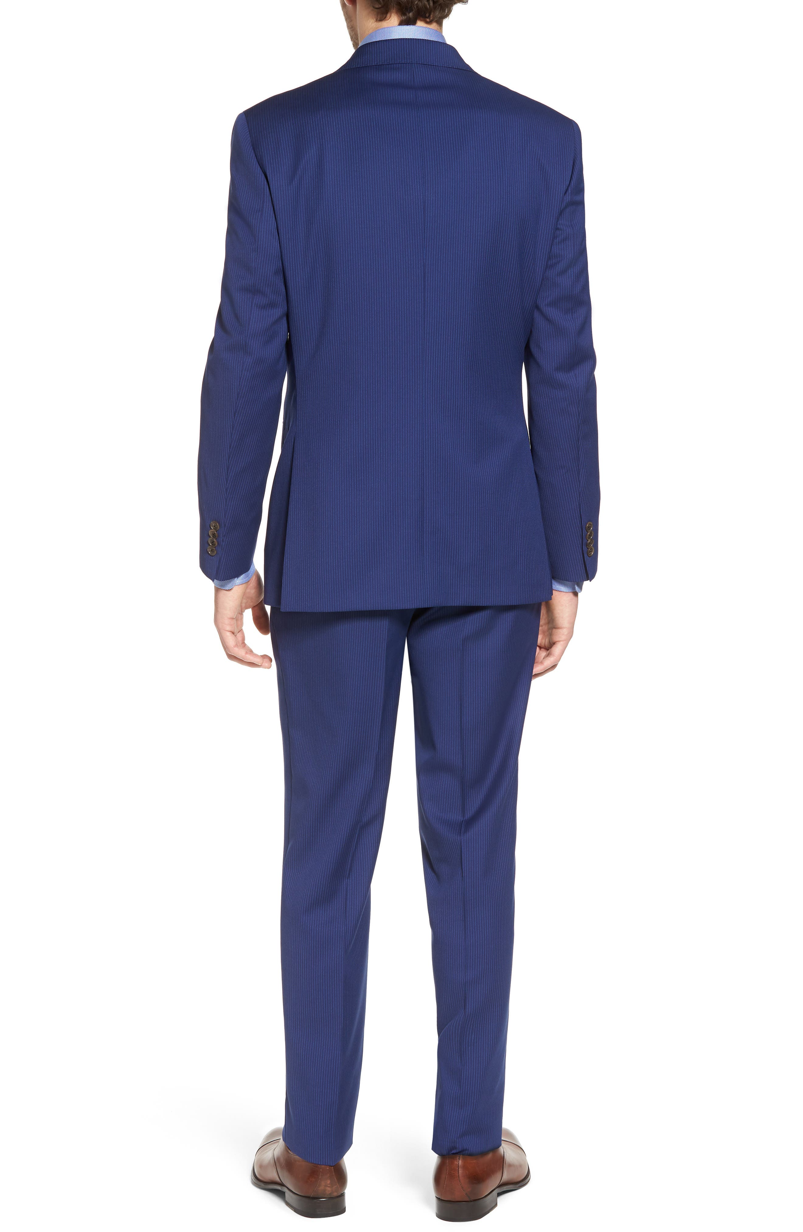 Ryan Classic Fit Stripe Wool Suit,                             Alternate thumbnail 2, color,                             Medium Blue