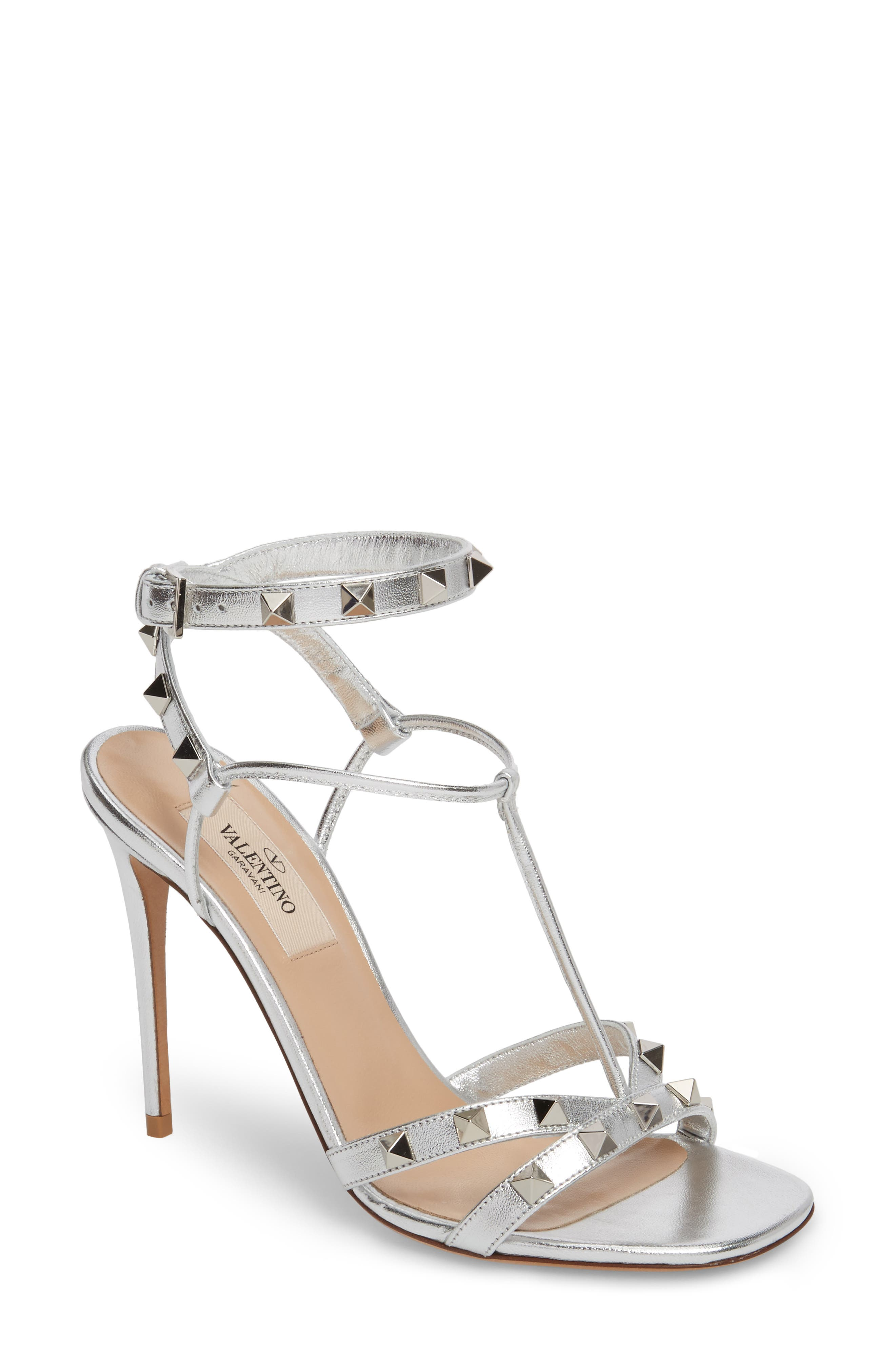Free Rockstud Sandal,                         Main,                         color, Metallic Silver