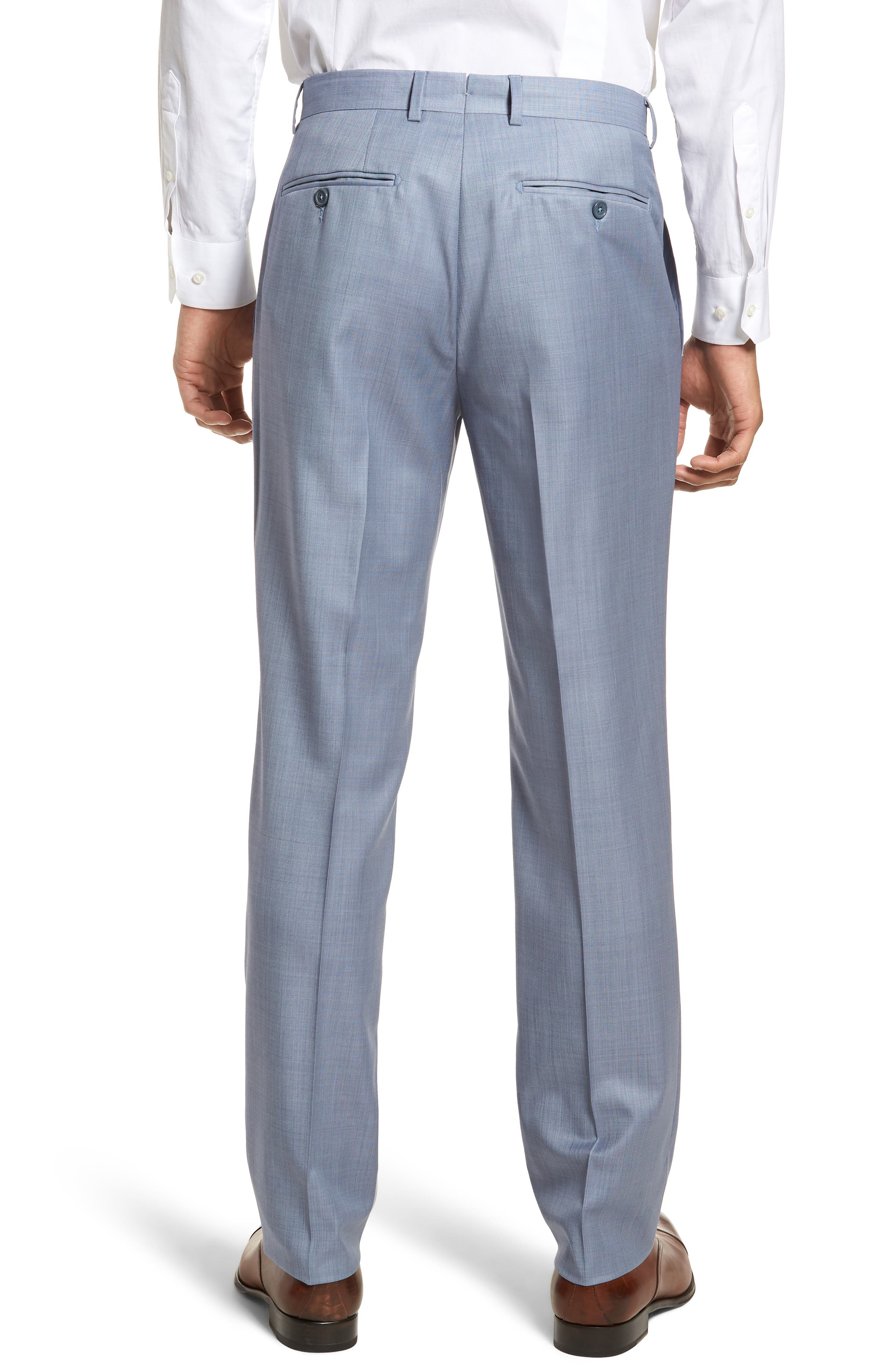 Flat Front Solid Wool Trousers,                             Alternate thumbnail 2, color,                             Soft Blue