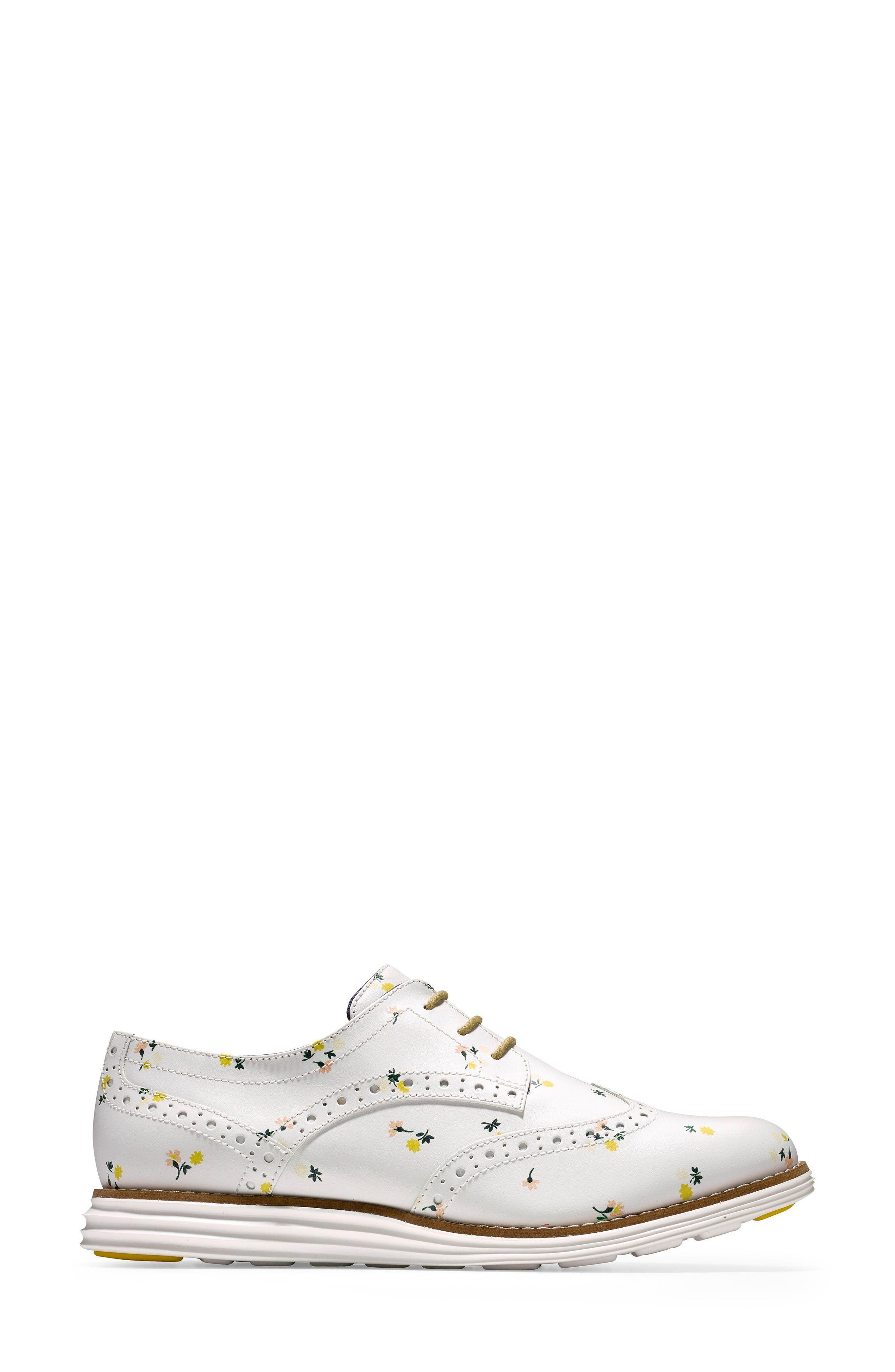 'Original Grand' Wingtip Oxford,                             Alternate thumbnail 3, color,                             Optic White Printed Leather