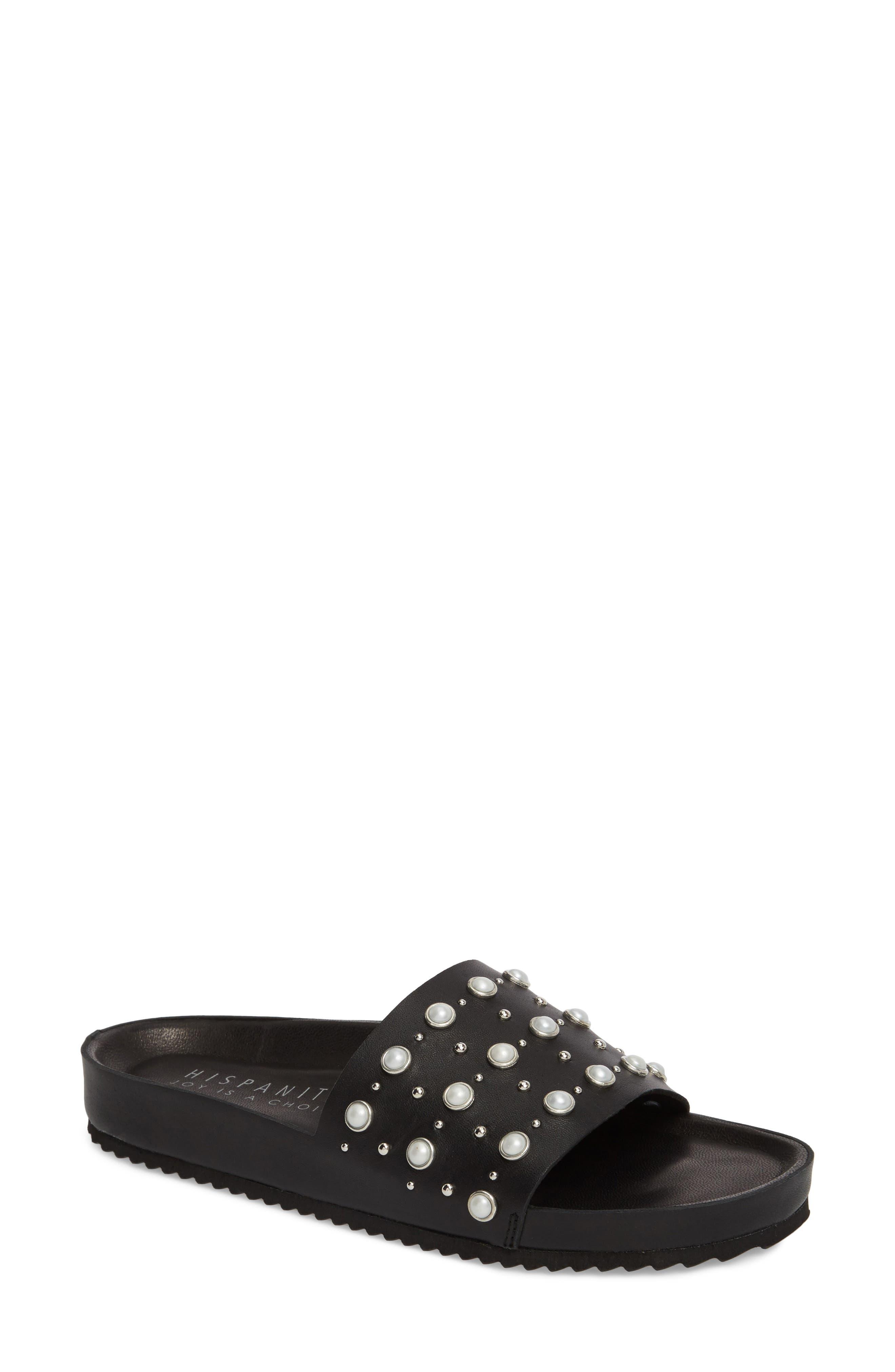 Santori Slide Sandal,                             Main thumbnail 1, color,                             Napa Black Leather
