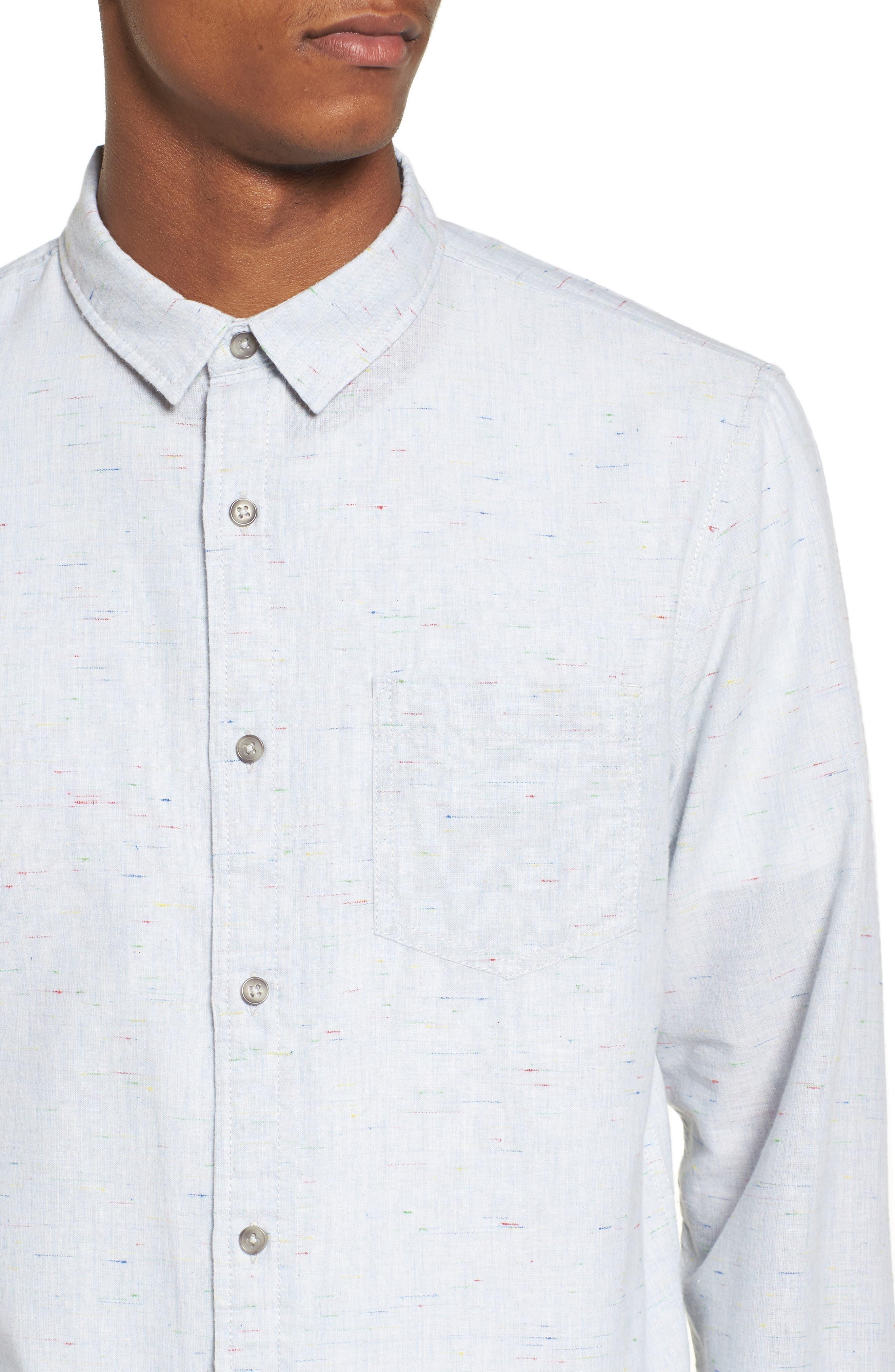 Long Sleeve Color Nep Shirt,                             Alternate thumbnail 4, color,                             Blue Chambray Multi Nep