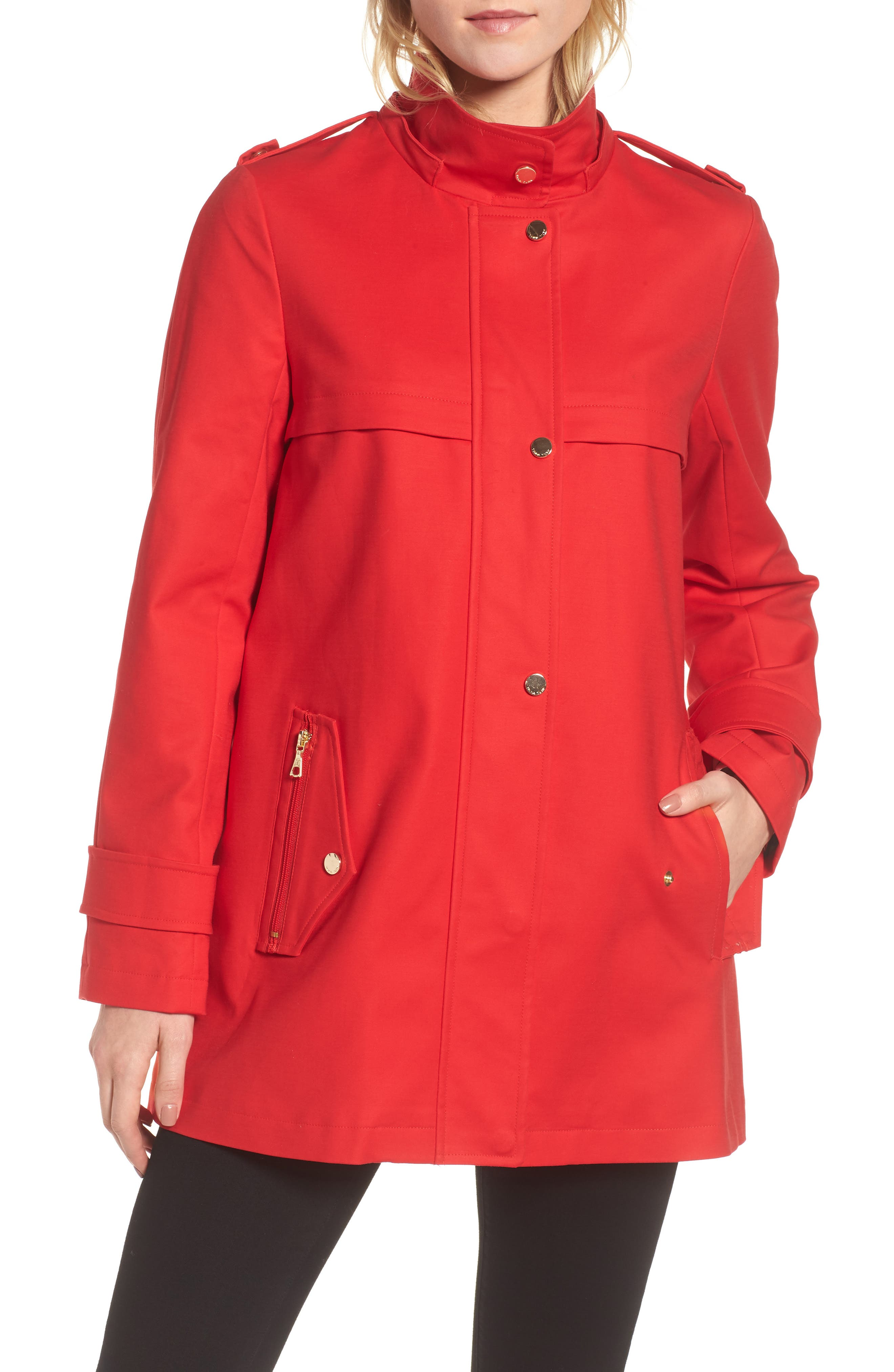 A-Line Rain Jacket,                             Alternate thumbnail 2, color,                             Red