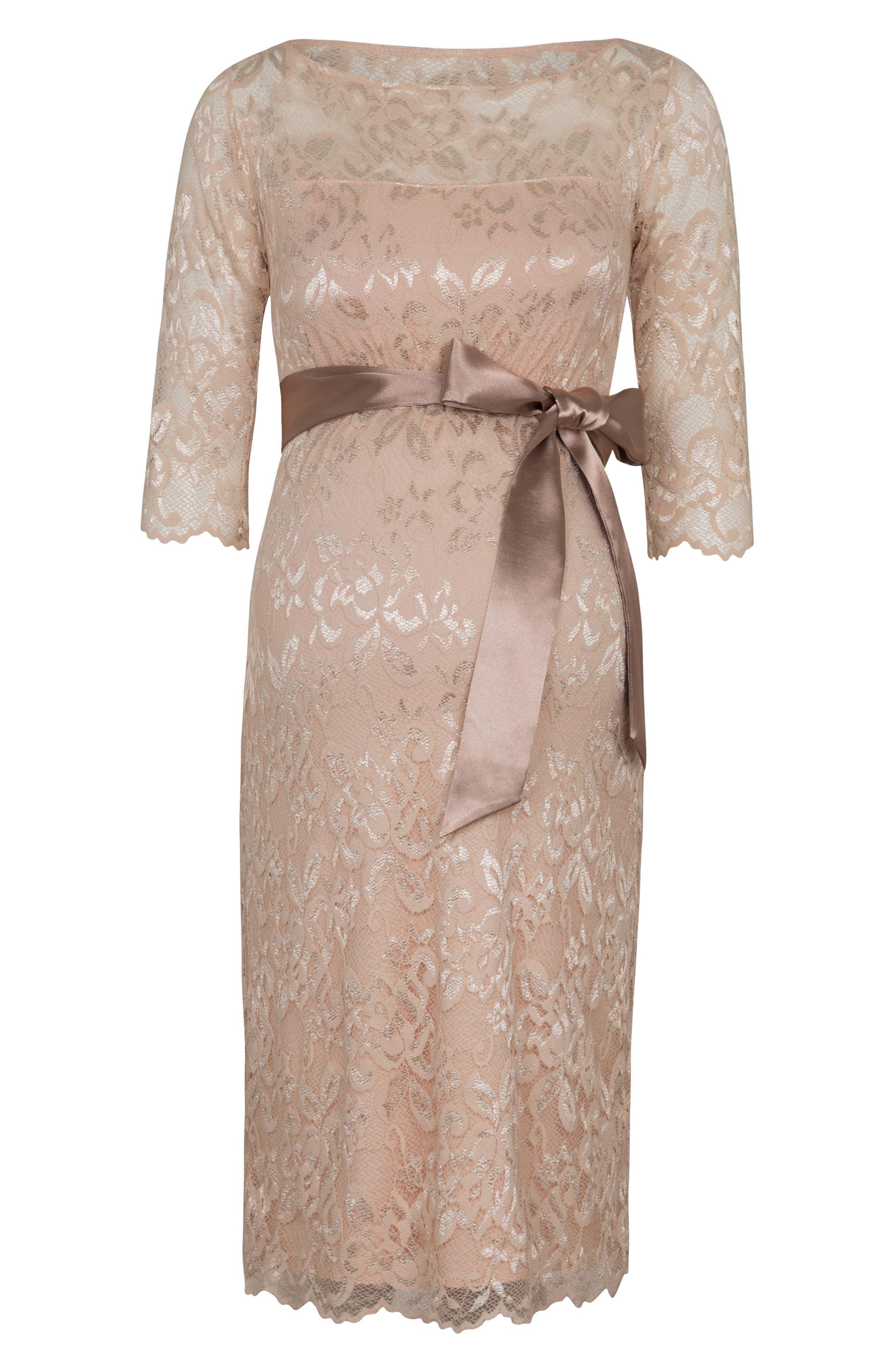 Amelia Lace Maternity Sheath Dress,                             Alternate thumbnail 4, color,                             Pearl Blush