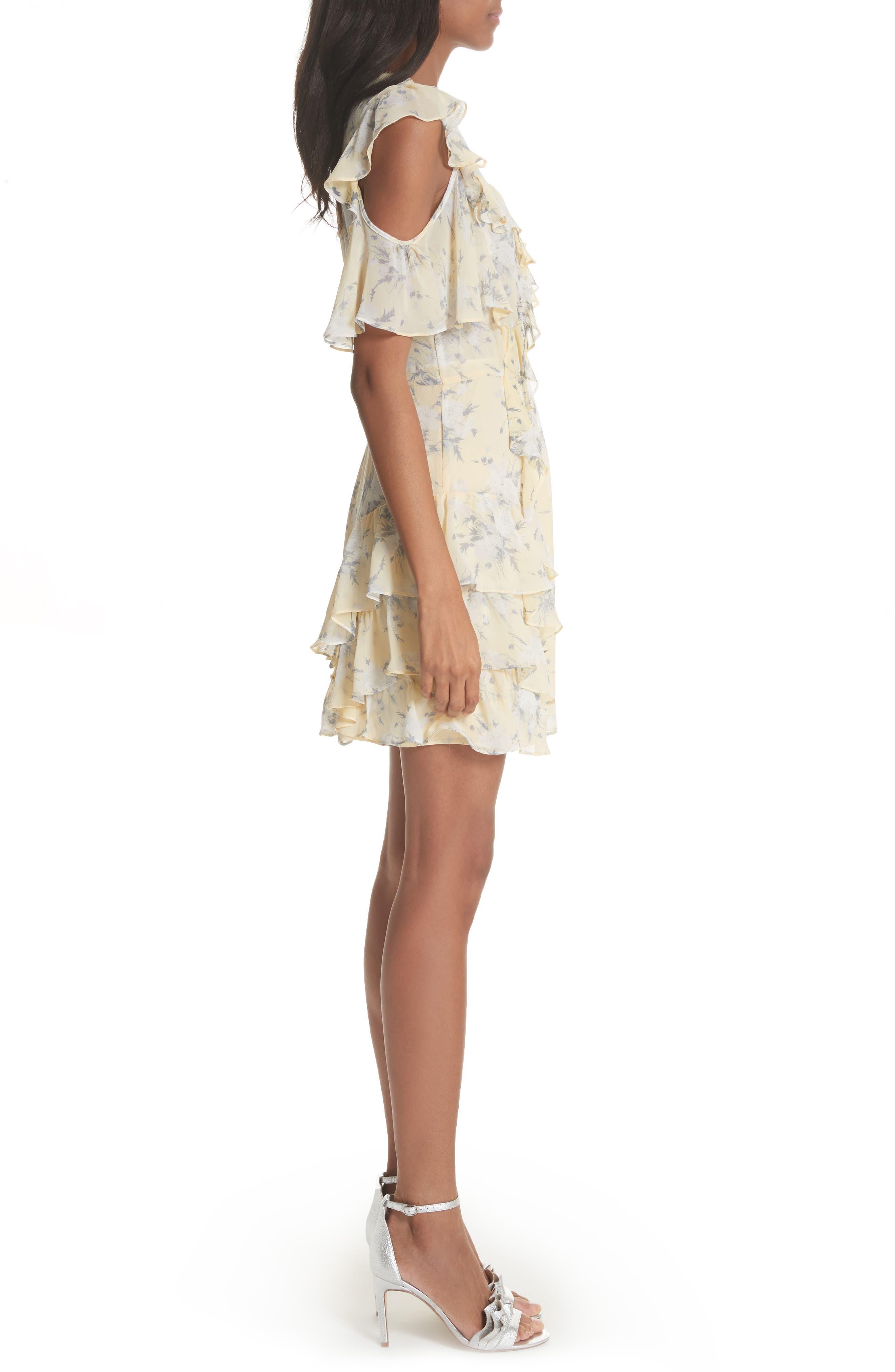 Cold Shoulder Lemon Rose Silk Dress,                             Alternate thumbnail 3, color,                             Lemon Combo