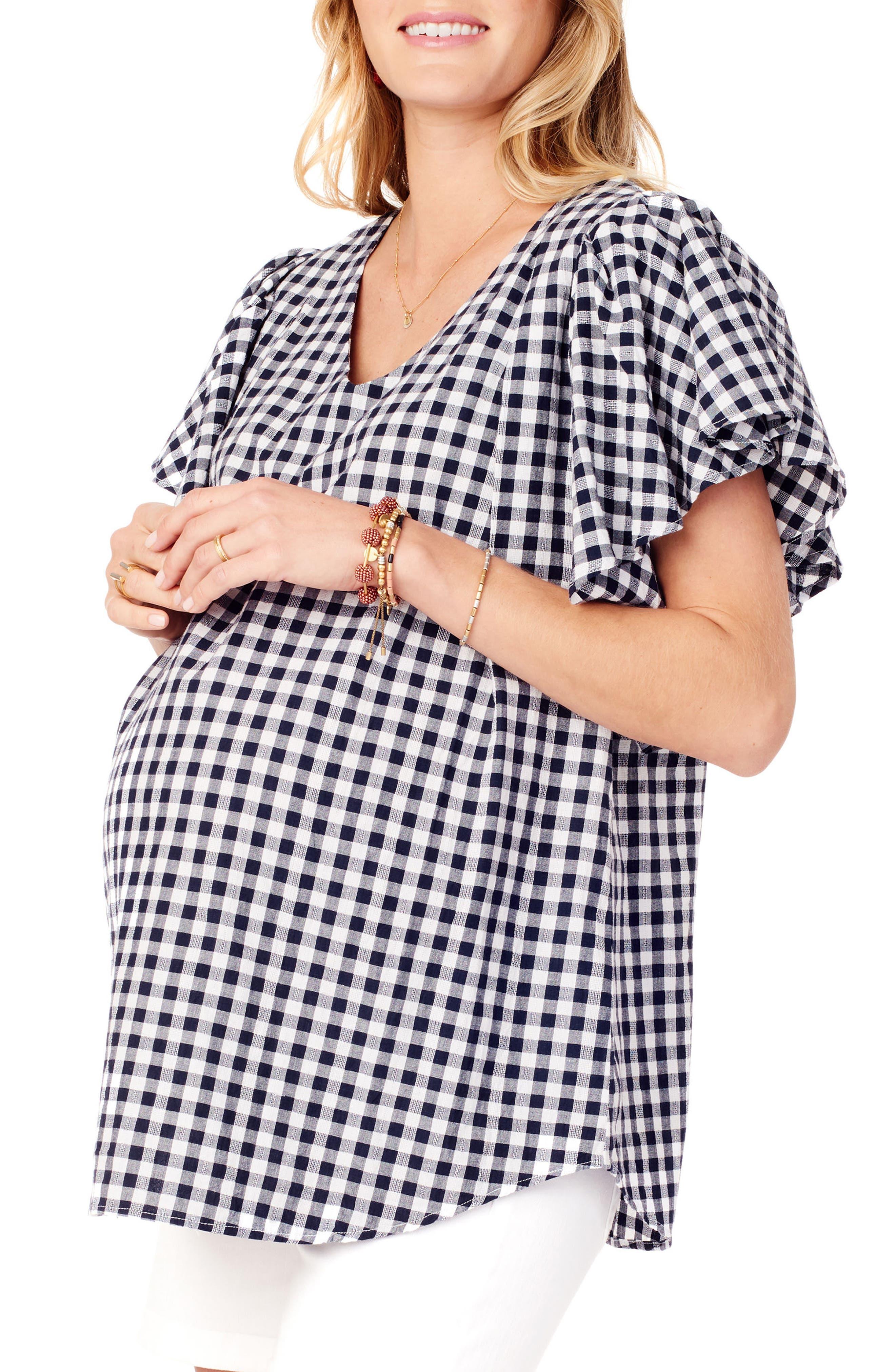 Flutter Sleeve Maternity Top,                             Alternate thumbnail 3, color,                             True Navy Gingham