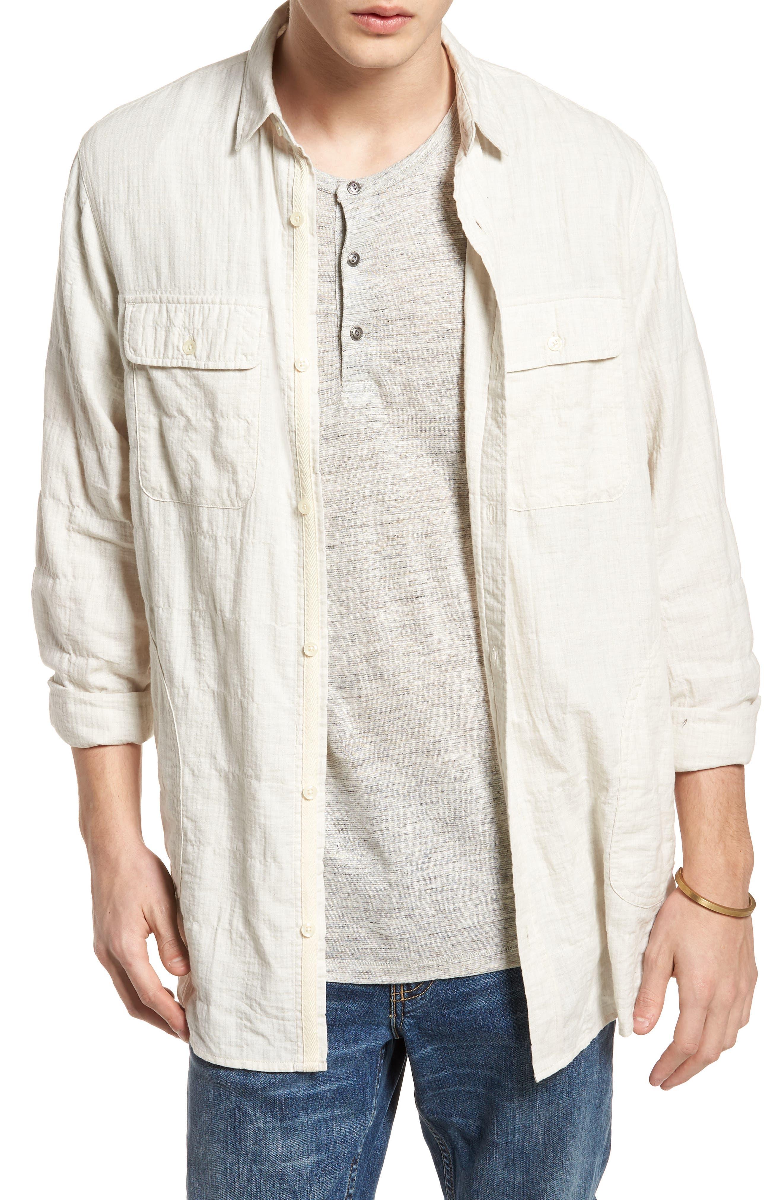 Herringbone Longline Shirt,                             Main thumbnail 1, color,                             Ivory Egret Herringbone
