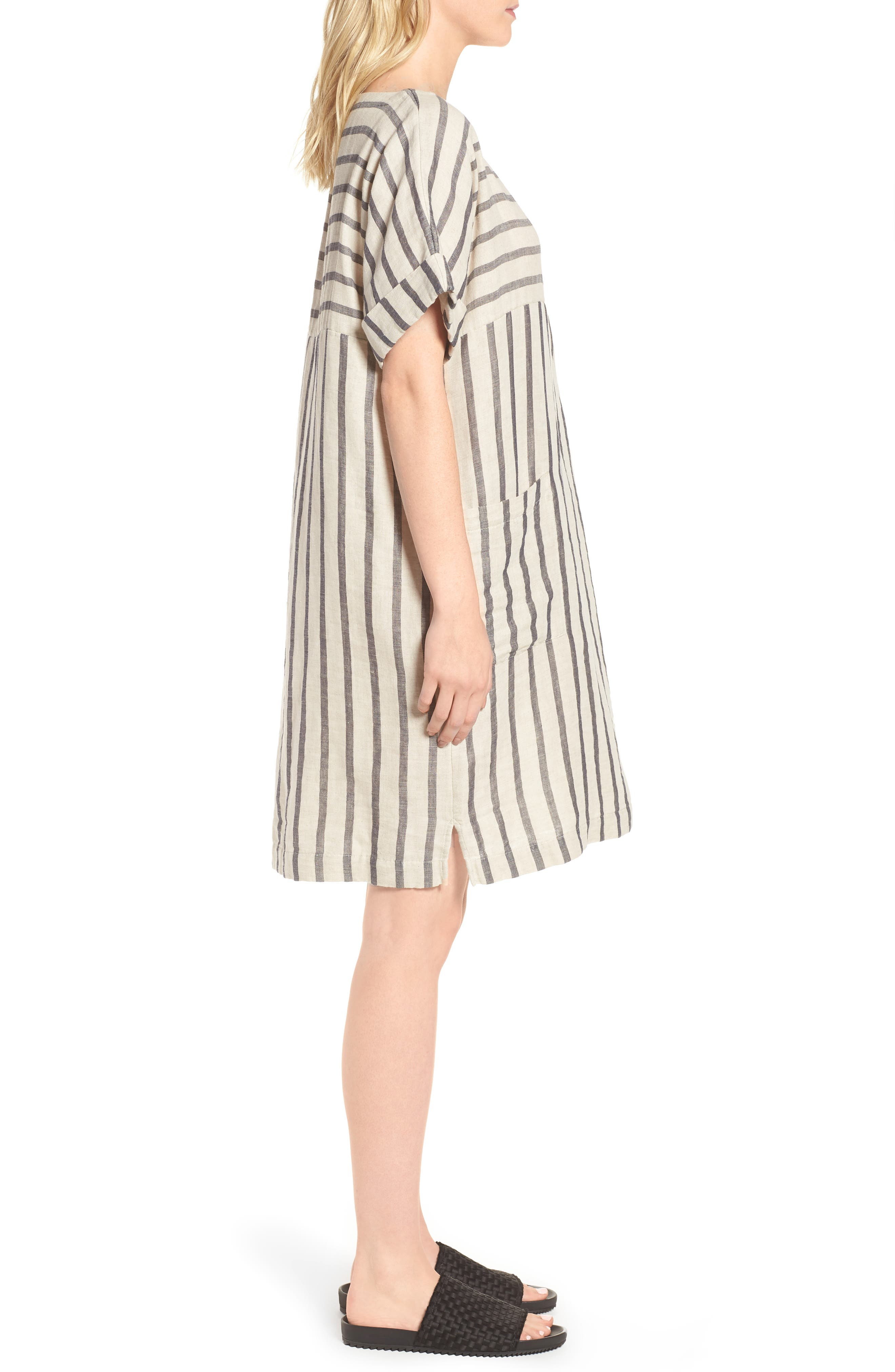 Stripe Linen & Cotton Shift Dress,                             Alternate thumbnail 3, color,                             Natural