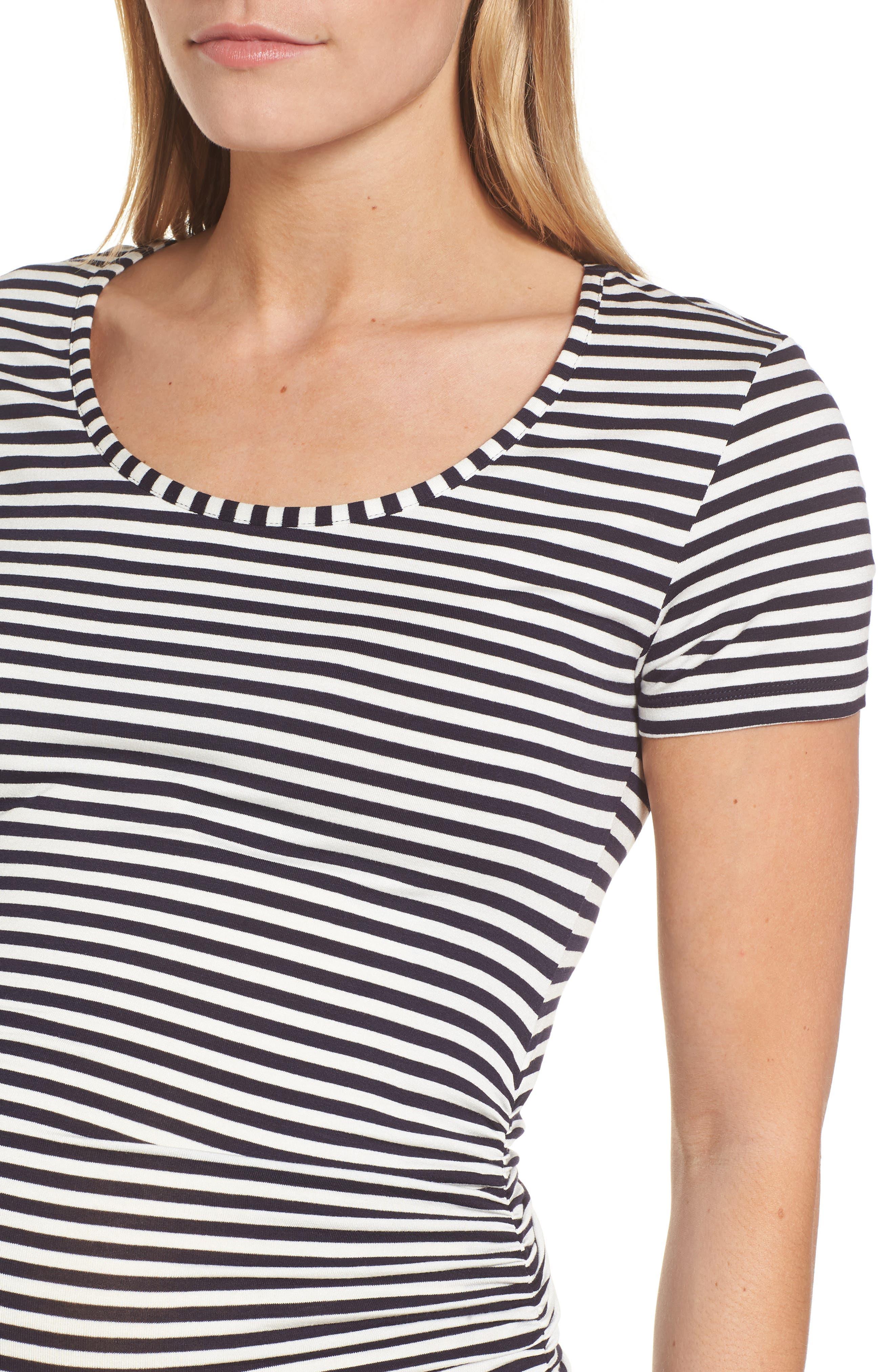 Jenna Maternity Top,                             Alternate thumbnail 4, color,                             Navy/Off White