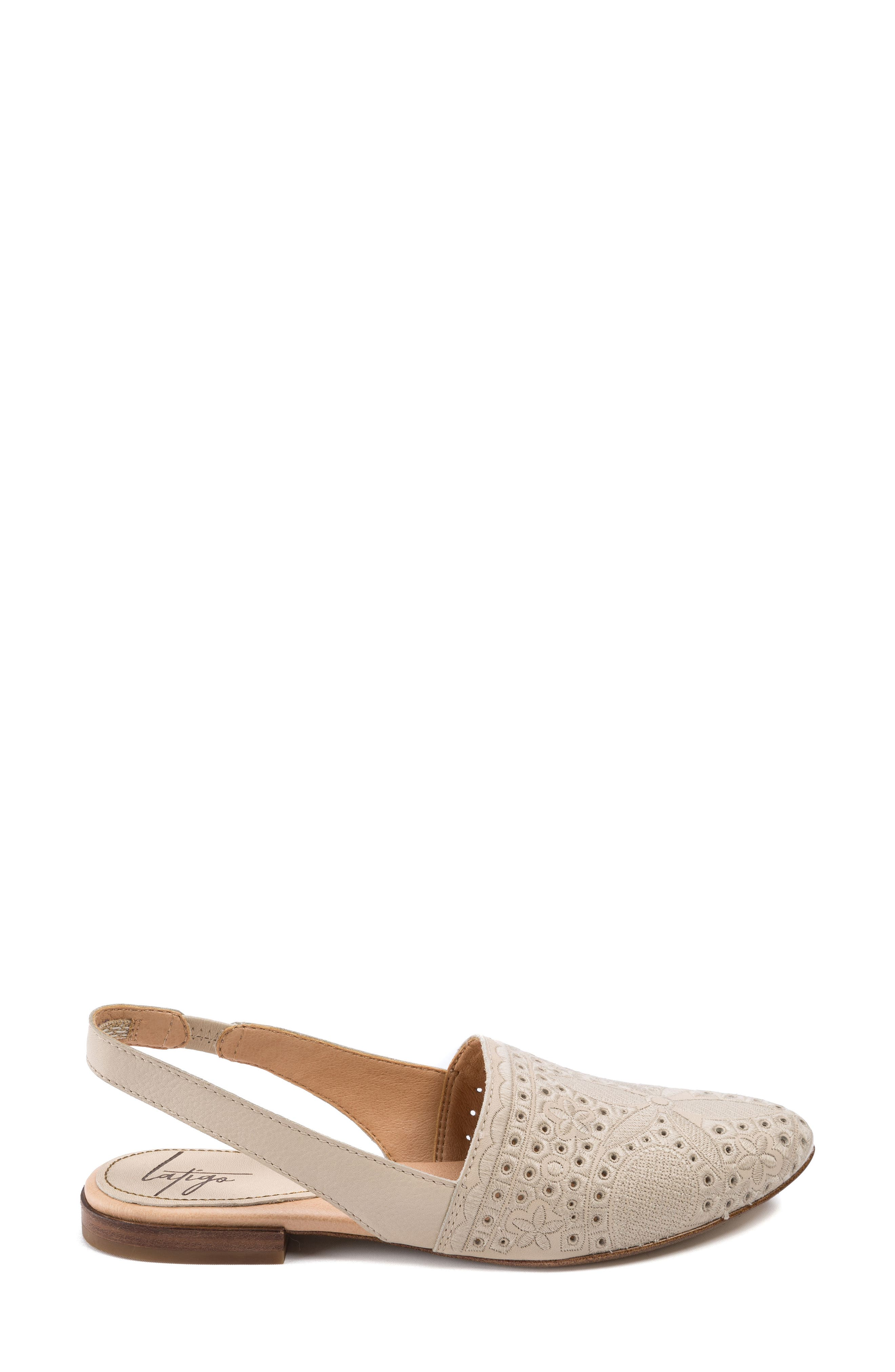 Ulu Embroidered Slingback Flat,                             Alternate thumbnail 3, color,                             Champagne