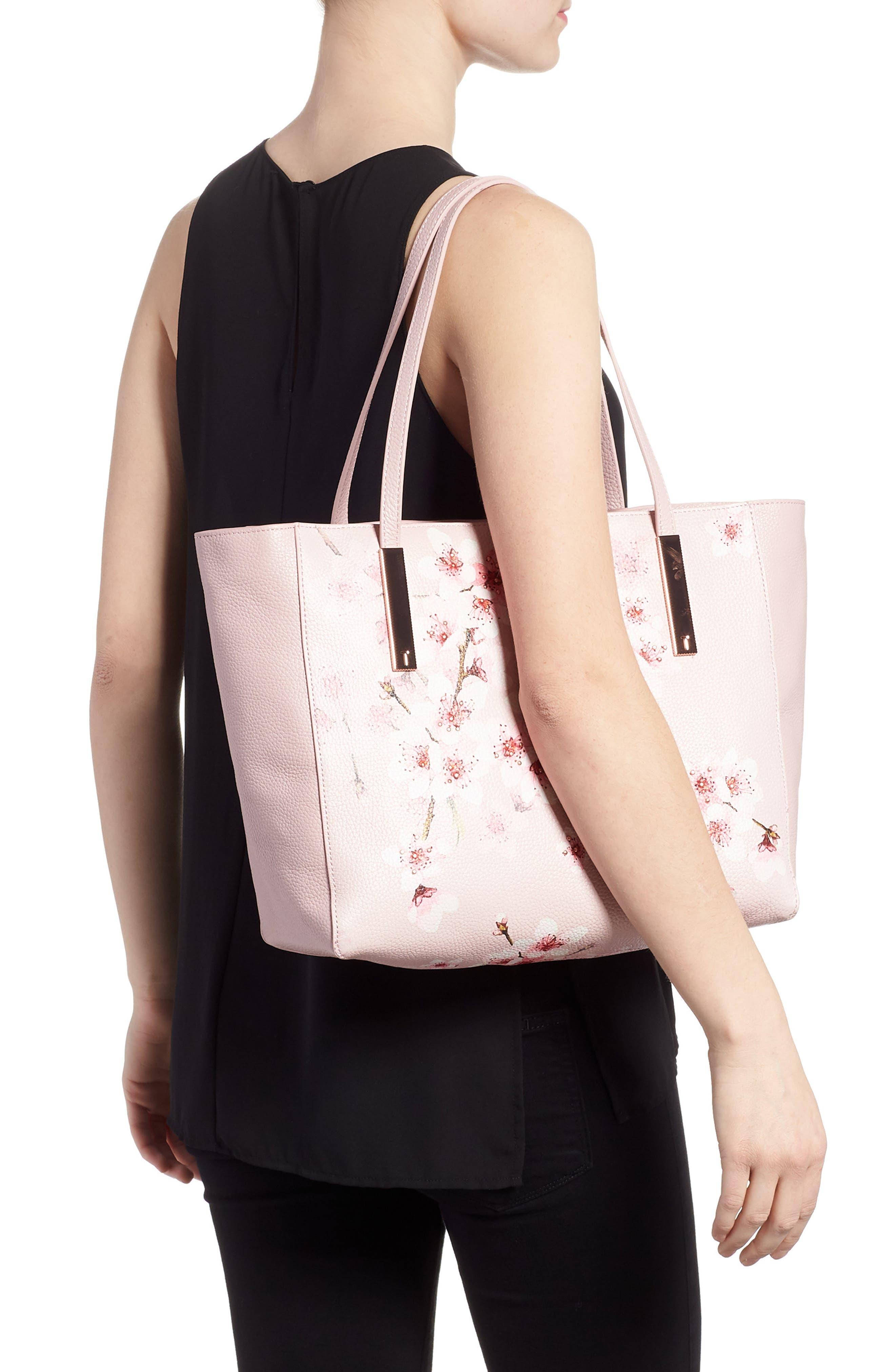 Soft Blossom Leather Shopper,                             Alternate thumbnail 2, color,                             Light Pink