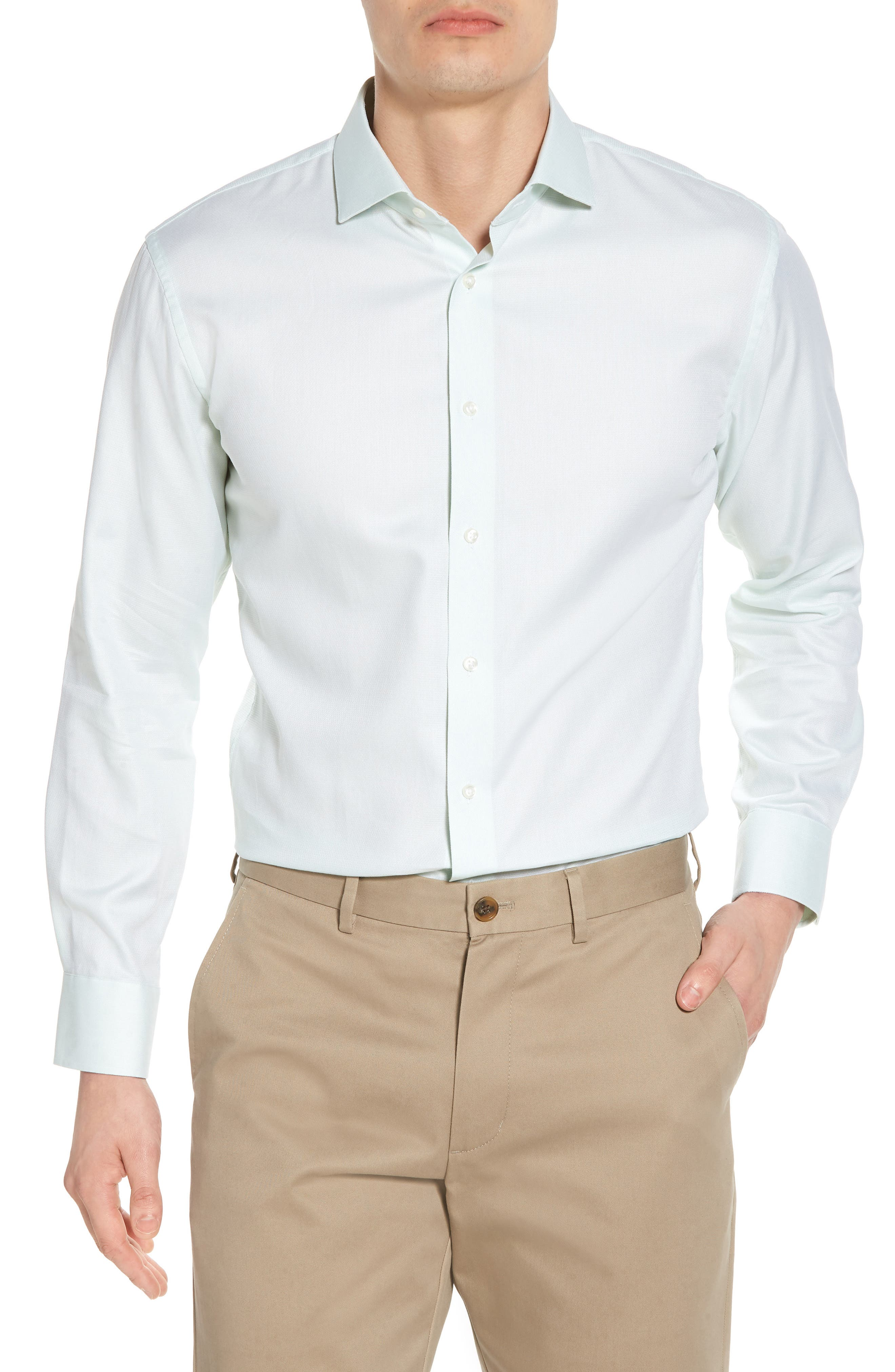 Trim Fit Solid Dress Shirt,                         Main,                         color, Green Screen