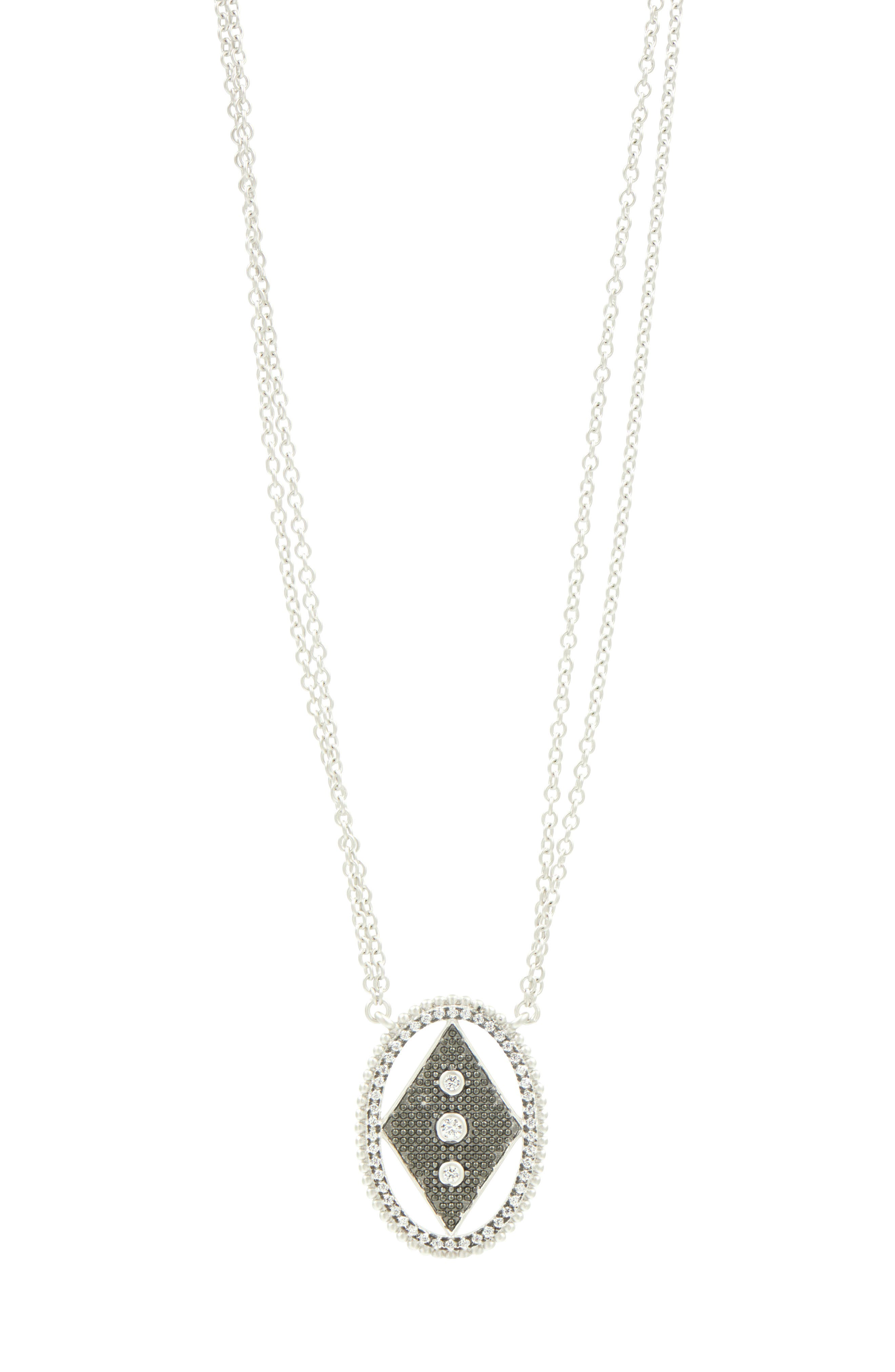 FREIDA ROTHMAN Industrial Finish Long Double Chain Pendant Necklace