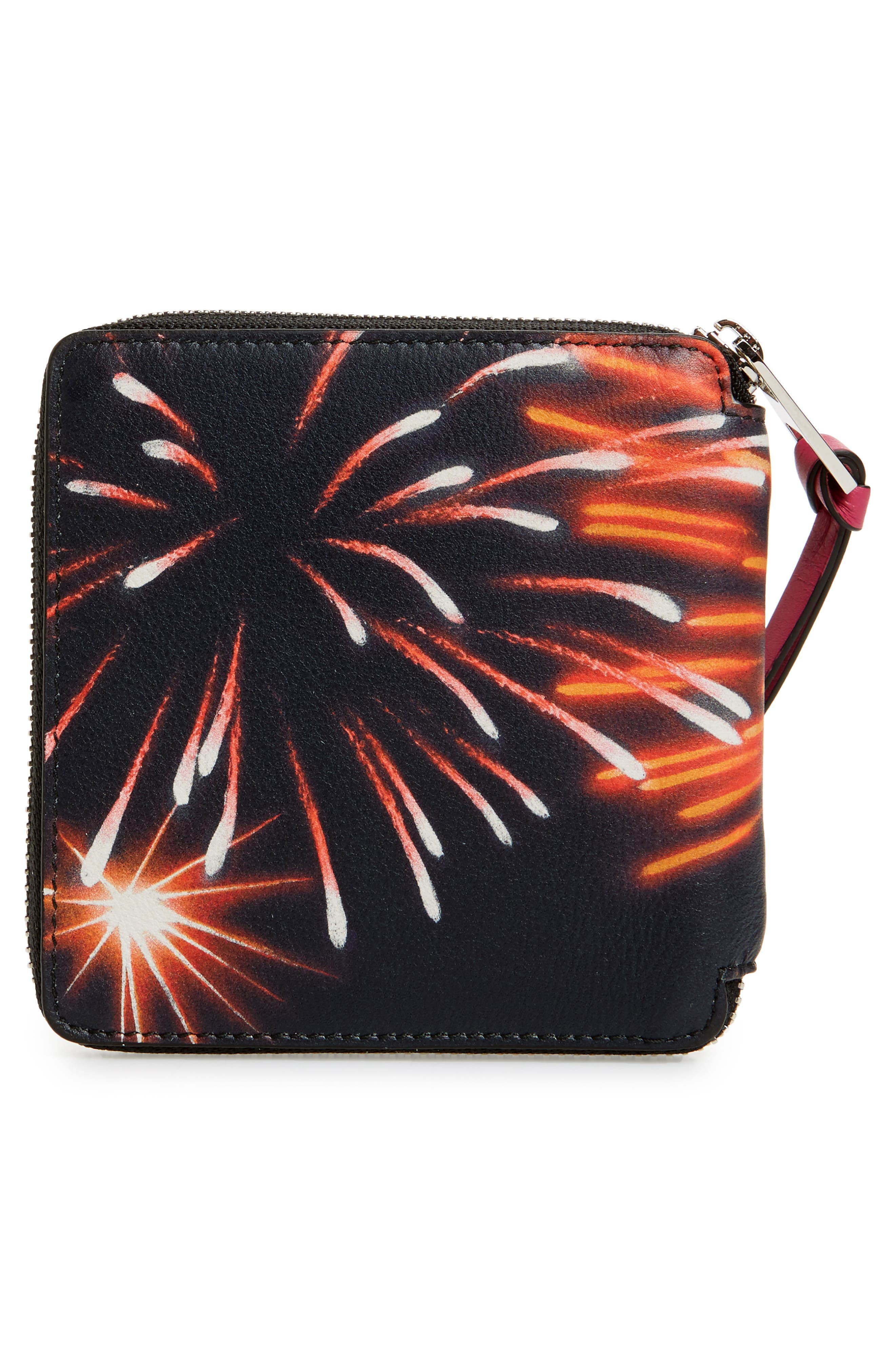 Fireworks Print Calfskin Leather Zip Wallet,                             Alternate thumbnail 3, color,                             White