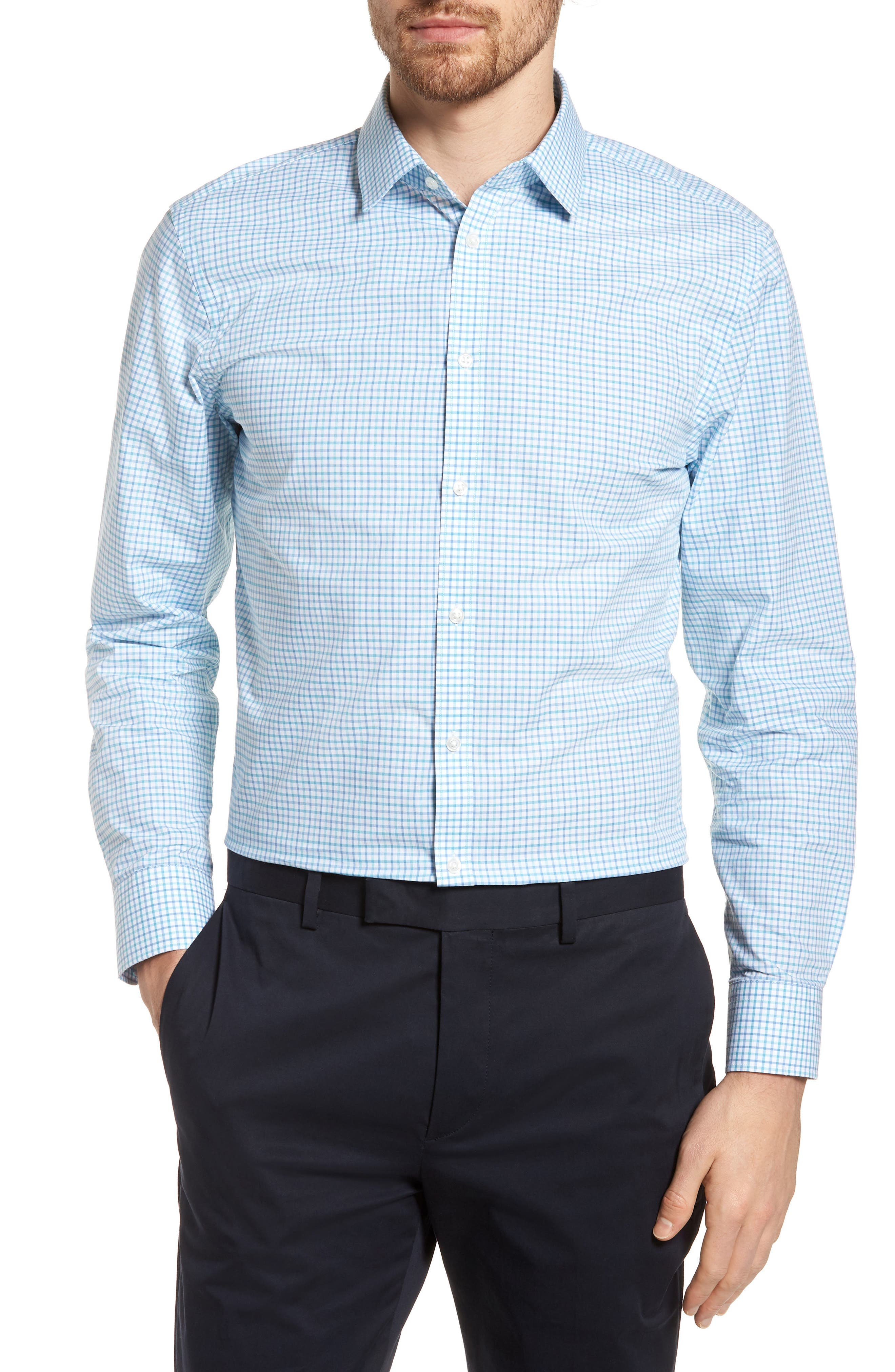 Nordstrom Men's Shop Extra Trim Fit Check Dress Shirt