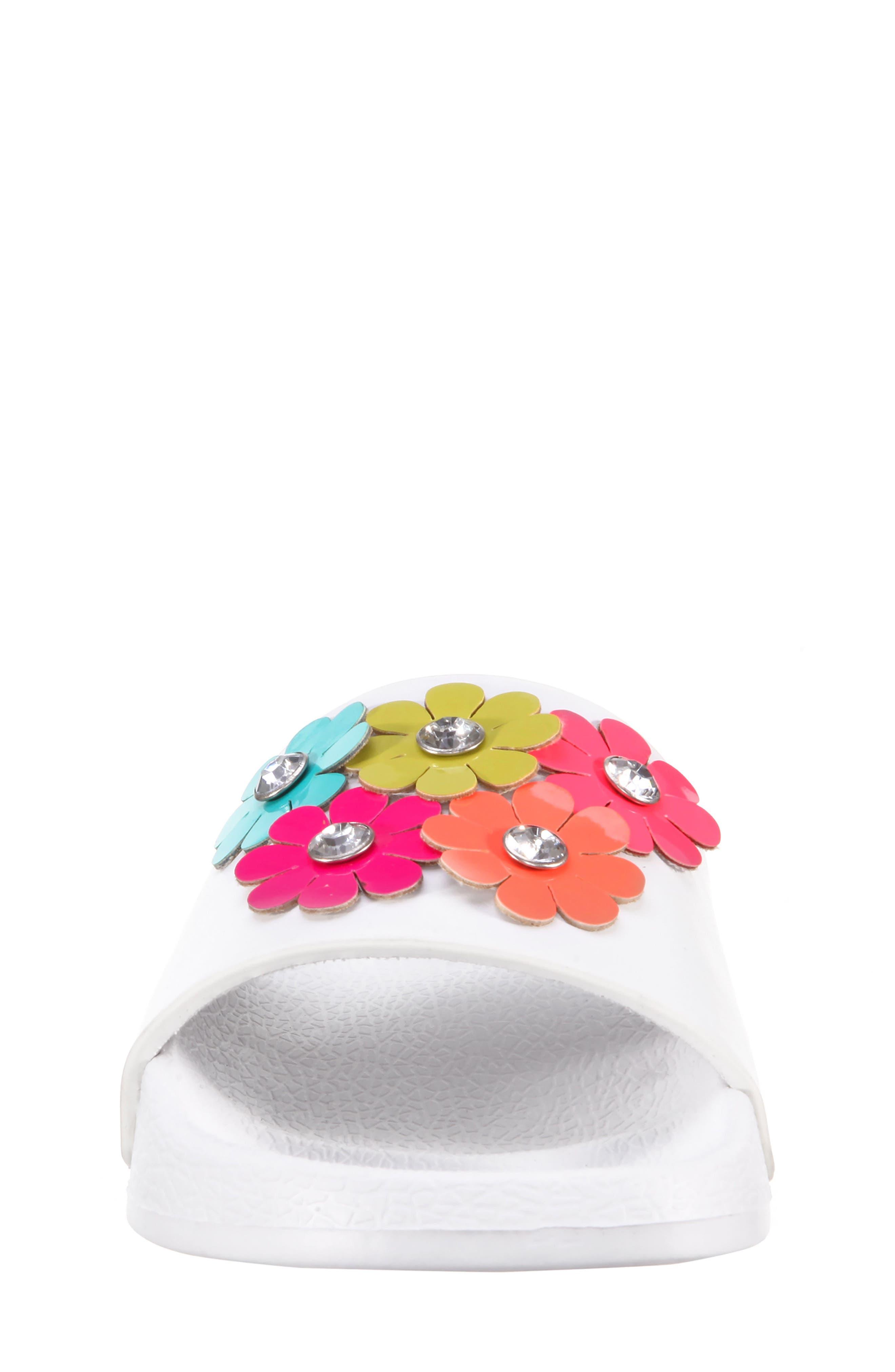 Flowermaid Embellished Slide Sandal,                             Alternate thumbnail 4, color,                             White Smooth