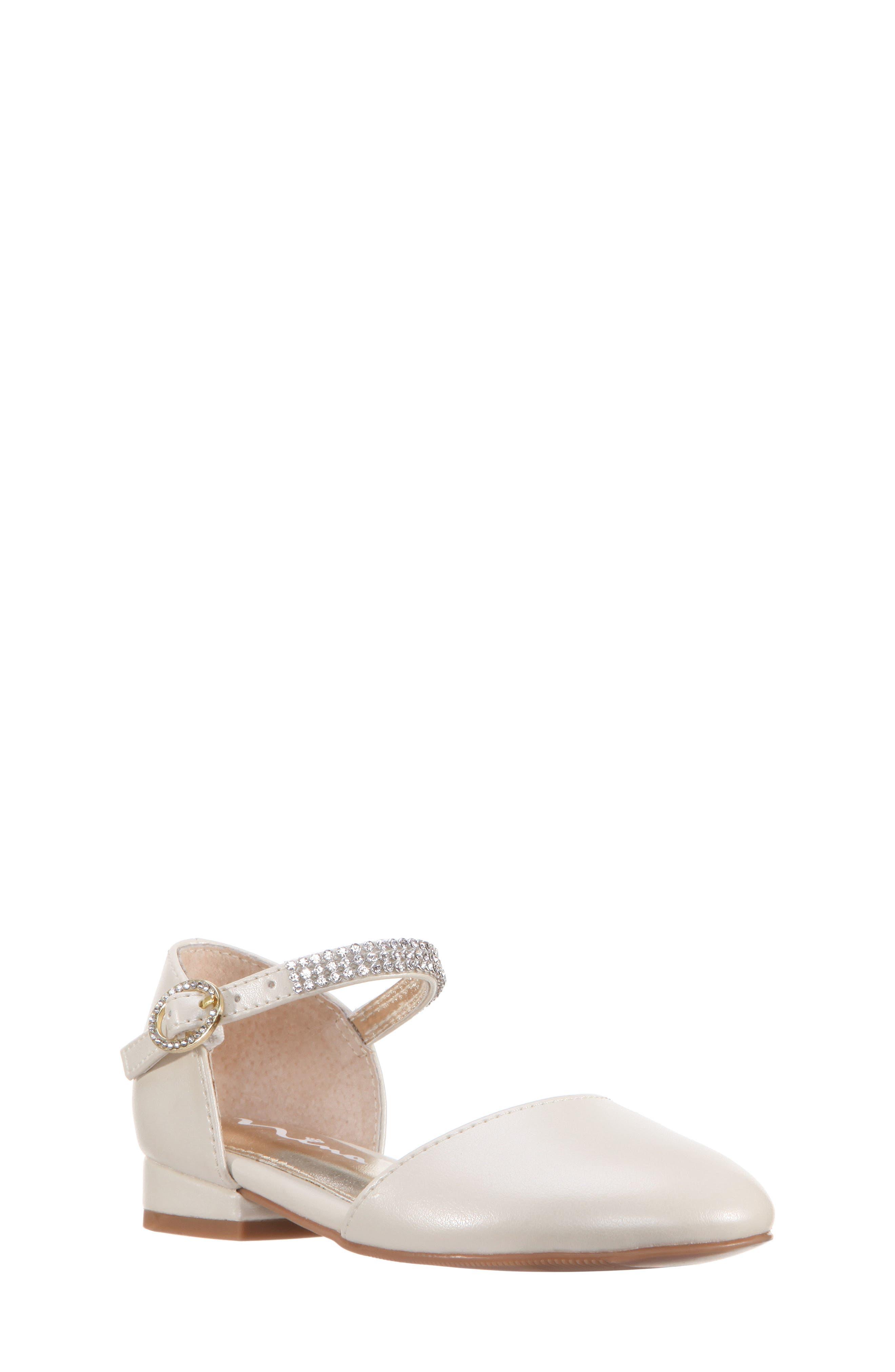 Cara Crystal Embellished d'Orsay Sandal,                             Main thumbnail 1, color,                             Bone Pearlized