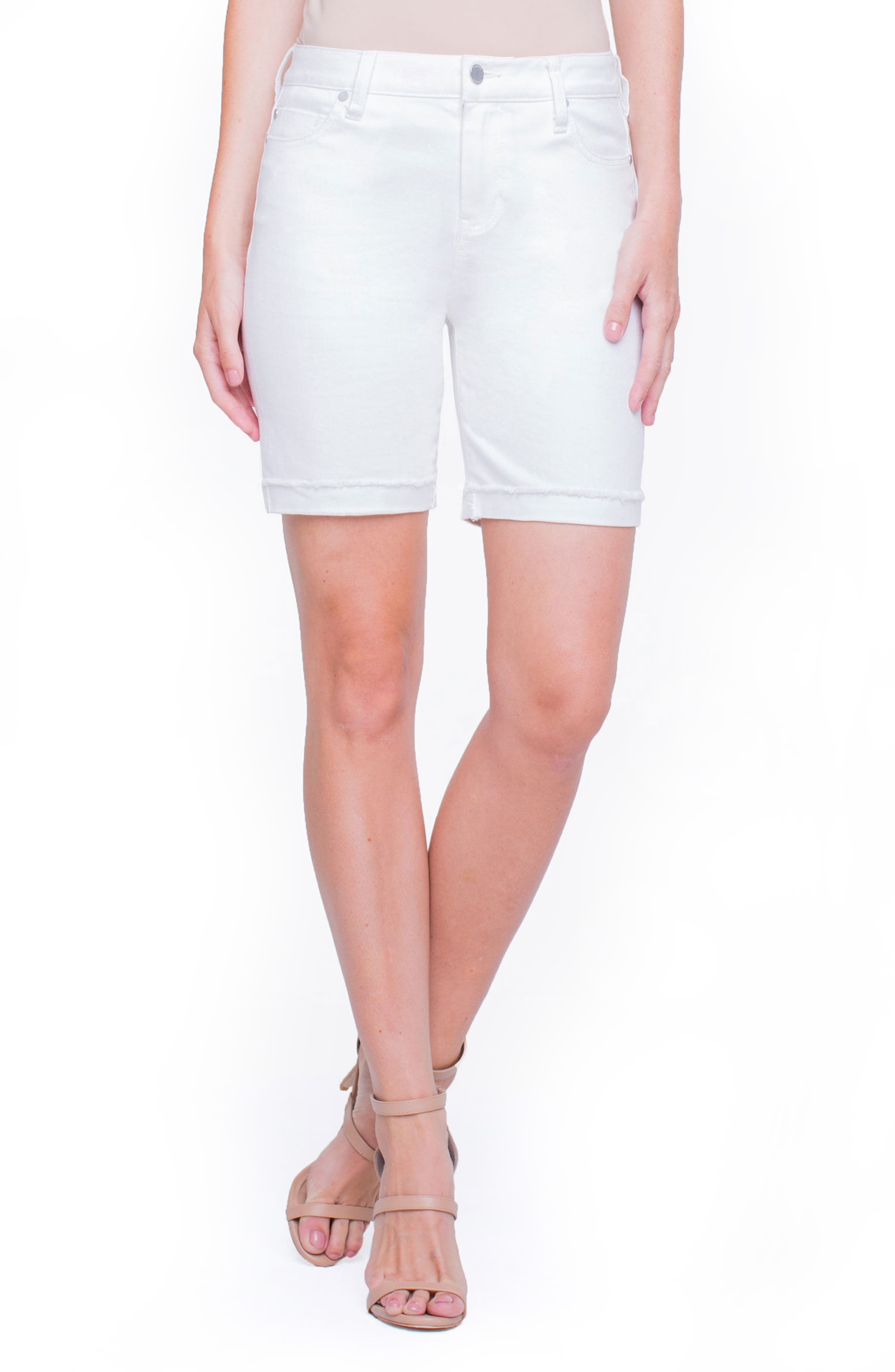 Casey White Denim Shorts,                             Main thumbnail 1, color,                             Bright White