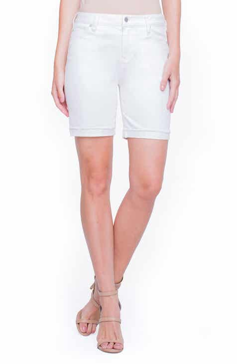 NYDJ Roll Cuff Pull-On Denim Shorts (Optic White) by NYDJ