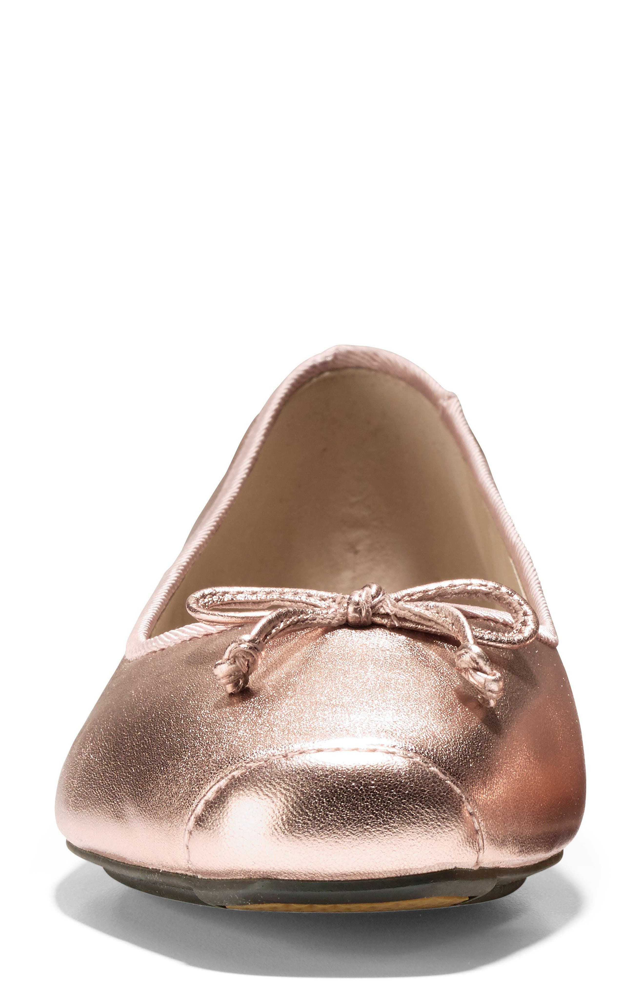 Downtown Ankle Wrap Ballet Flat,                             Alternate thumbnail 4, color,                             Rose Gold Leather