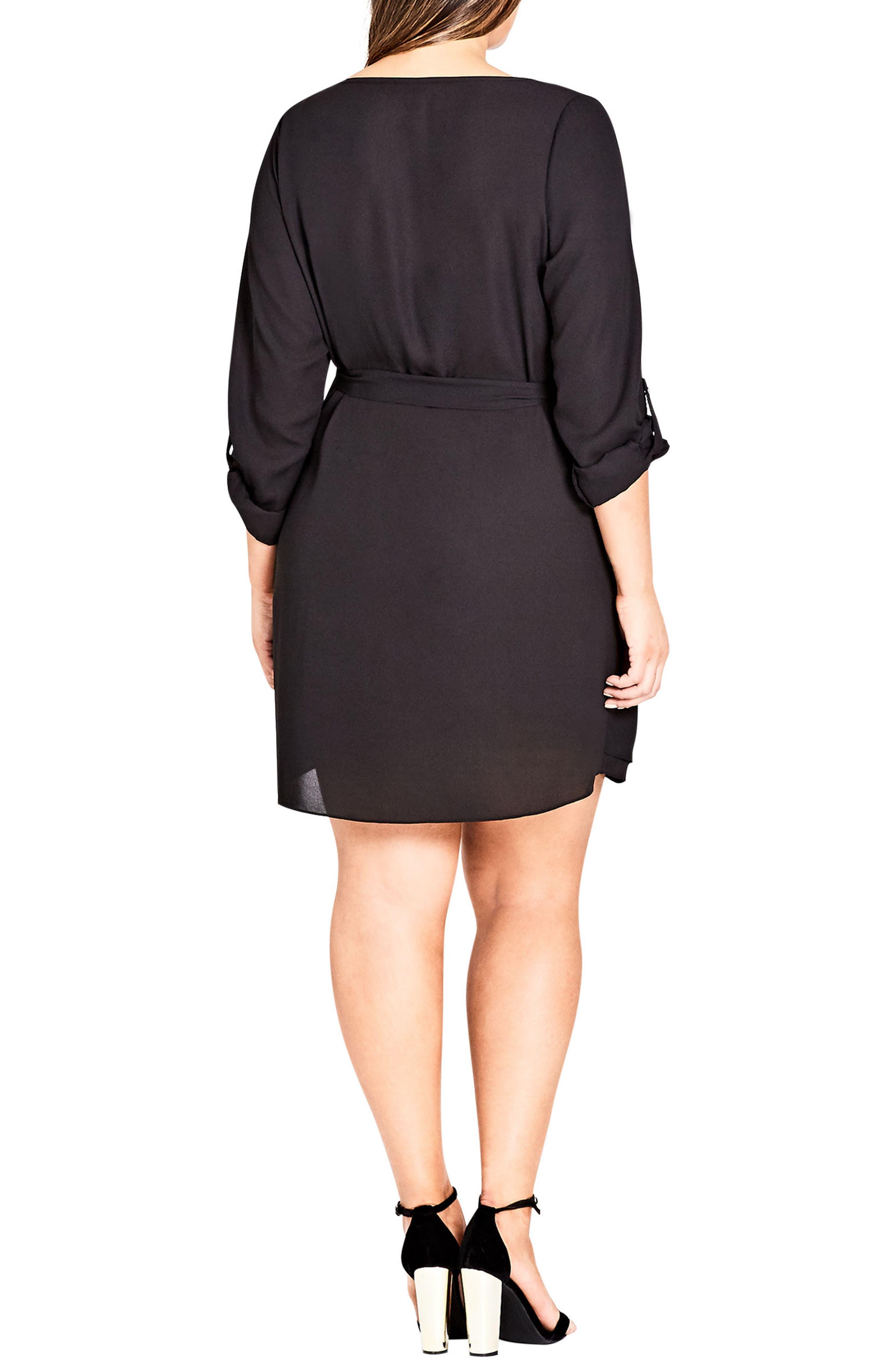 Zip Tunic Dress,                             Alternate thumbnail 2, color,                             Black